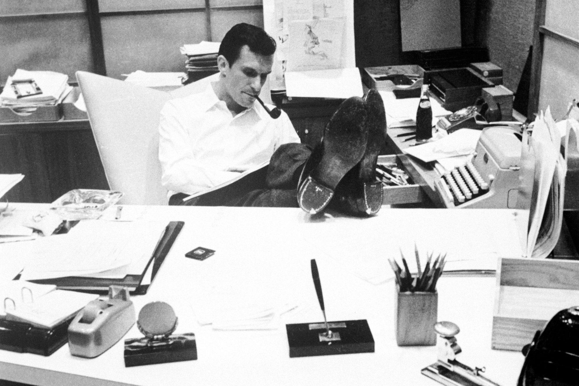 Hugh Hefner at Work in His Office