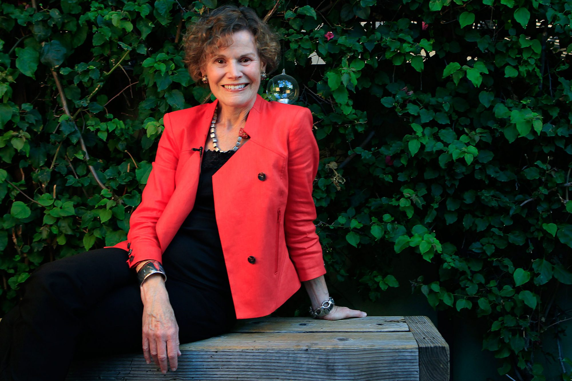 Author Judy Blume, right, and actress Willa Holland sit for a portrait May 29 2013 in Los Angeles.