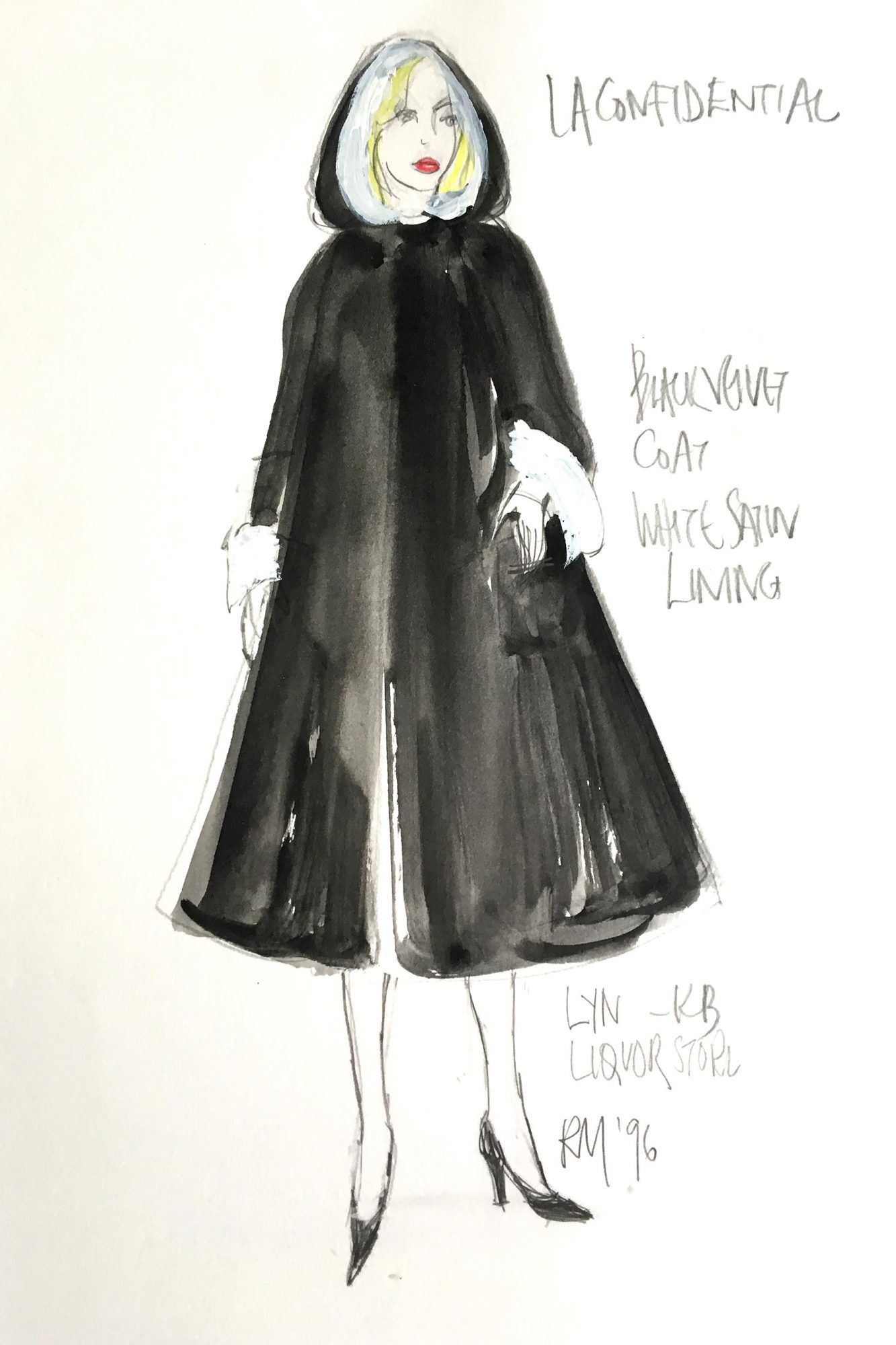 Ruth Myers L.A. Confidential costume sketches