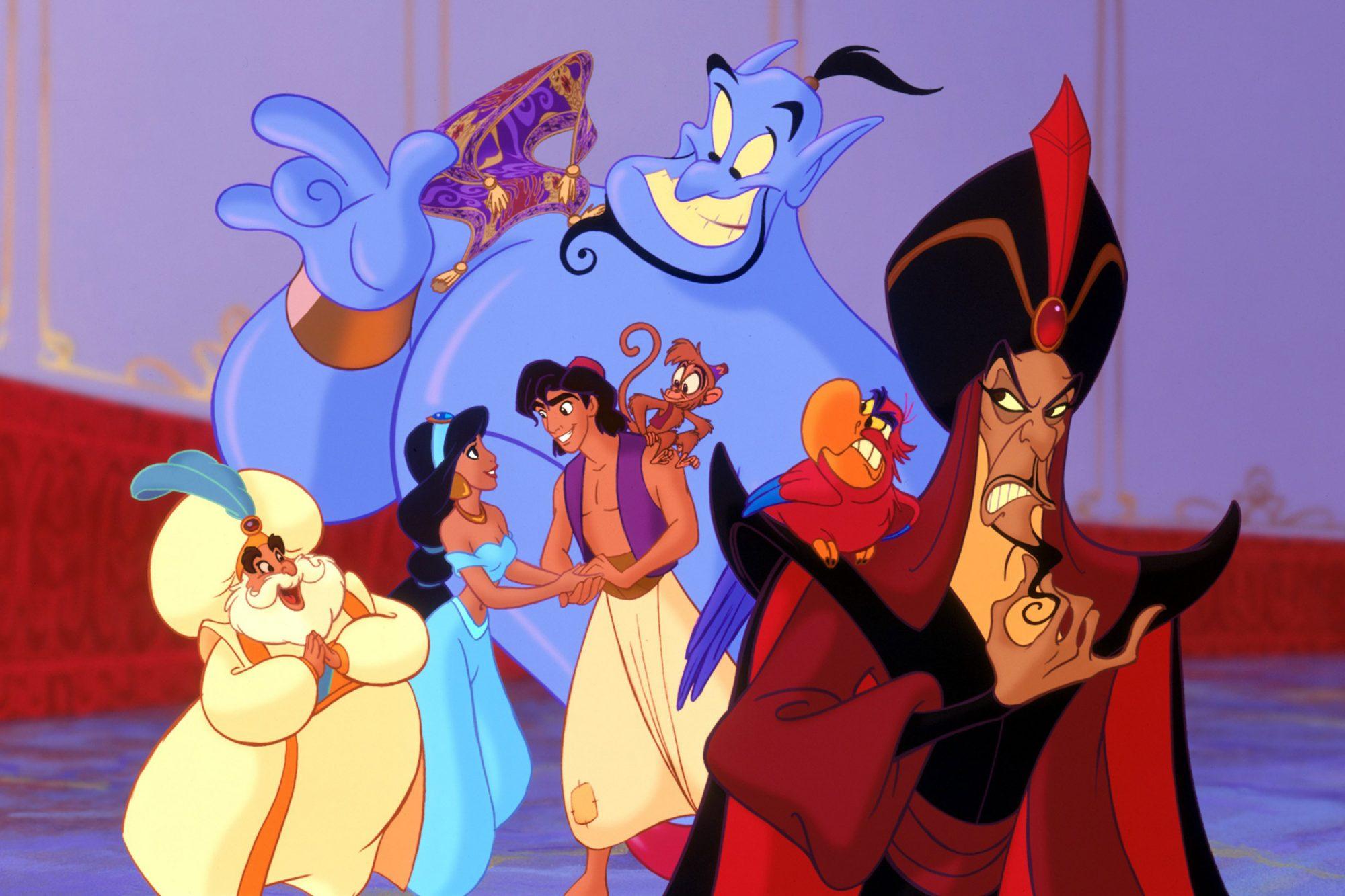 ALADDIN, Sultan, Genie, Jasmine, Aladdin, Abu, Iago, Jafar, 1992. (c) Buena Vista Pictures/ Courtesy