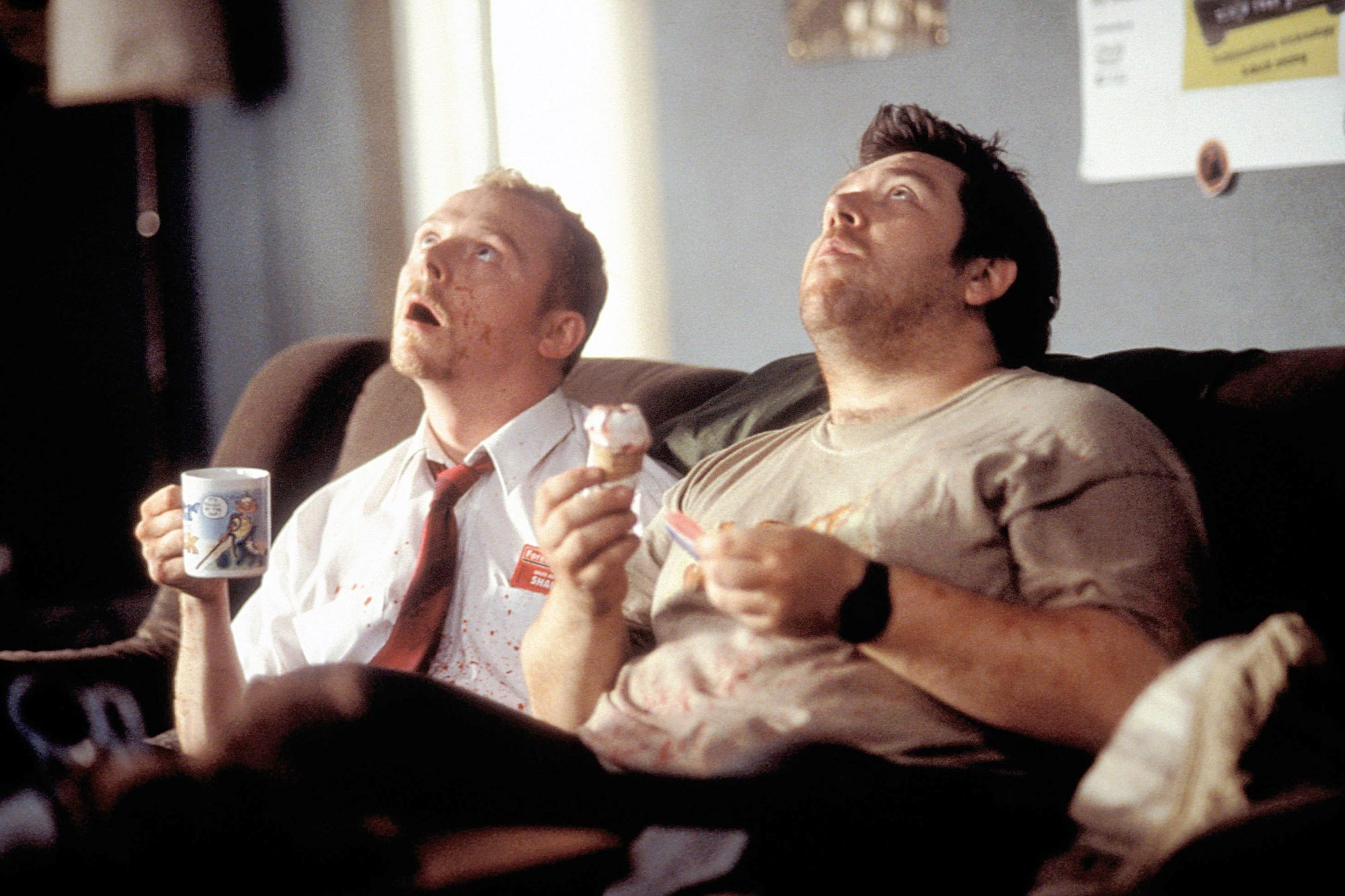 SHAUN OF THE DEAD, Simon Pegg, Nick Frost, 2004, (c) Rogue Pictures/courtesy Everett Collection