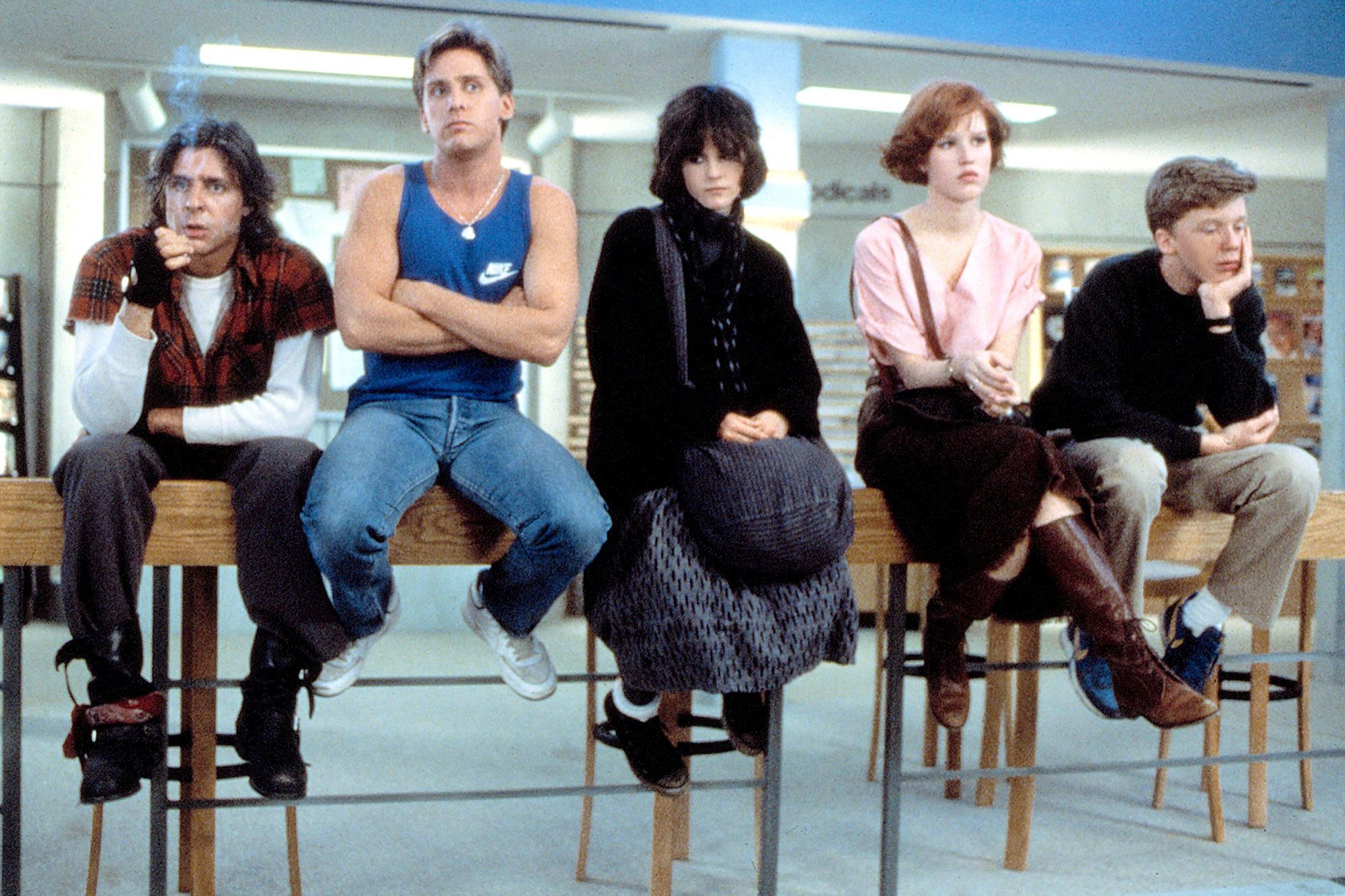 THE BREAKFAST CLUB, Judd Nelson, Emilio Estevez, Ally Sheedy, Molly Ringwald, Anthony Michael Hall,