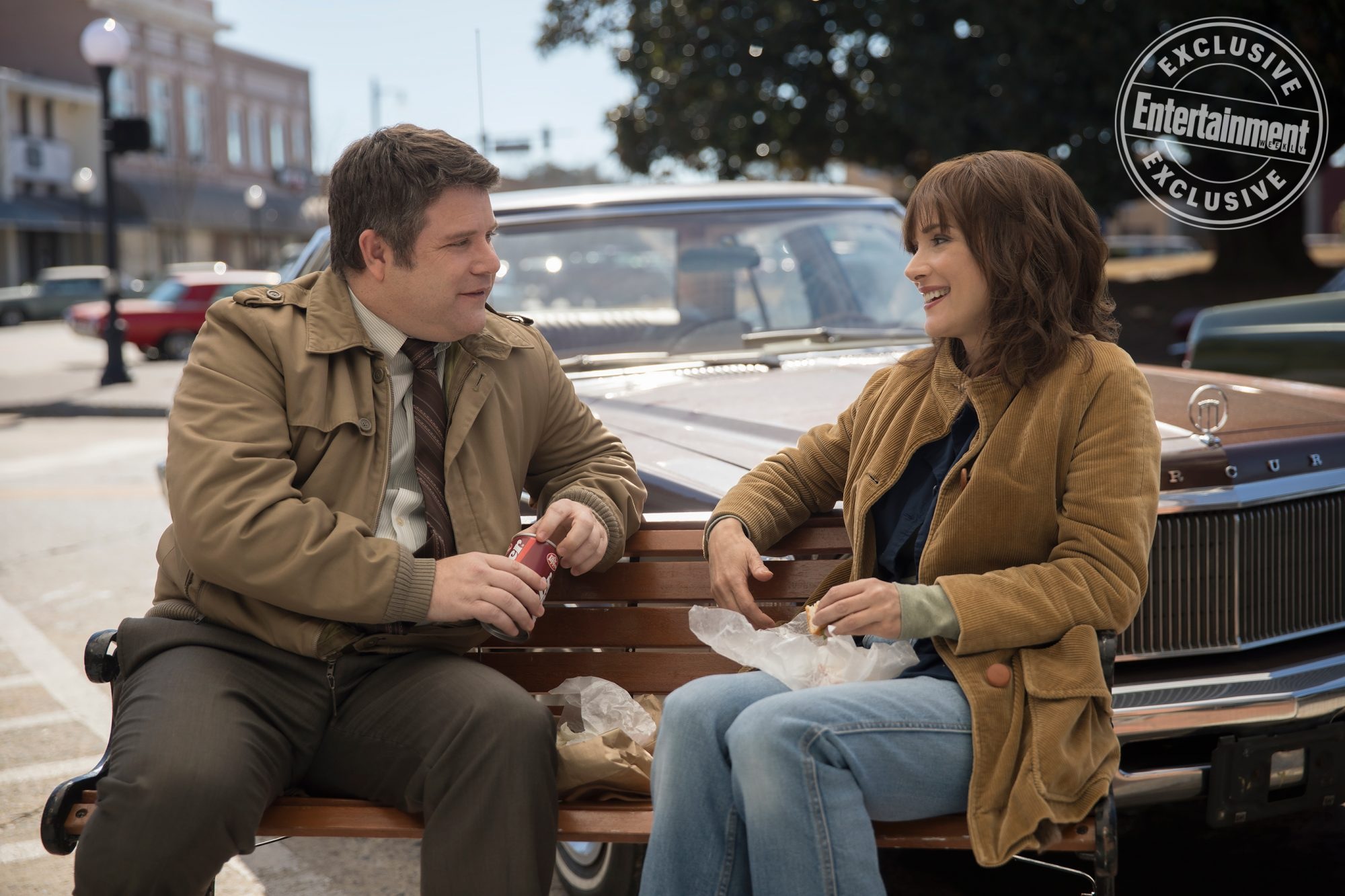 Sean Astin as Bob Newby and Winona Ryder as Joyce Byers