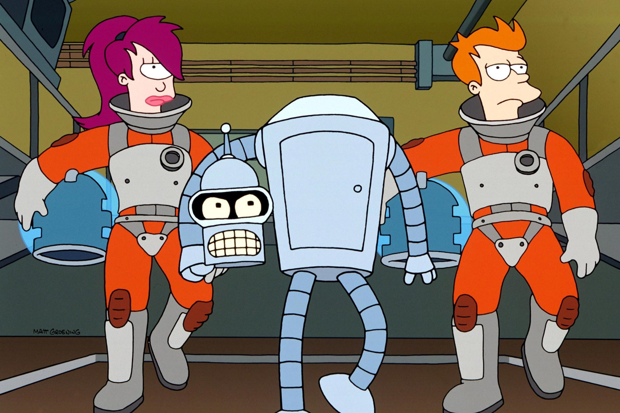 FUTURAMA, Leela, Bender, Fry, 1999-present.  TM and Copyright (c) 20th Century Fox Film Corp. All ri