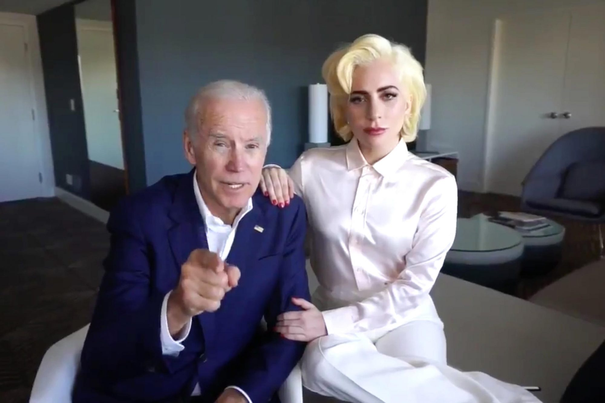 Lady Gaga and Joe Biden (screen grab) CR: Lady Gaga/Twitter