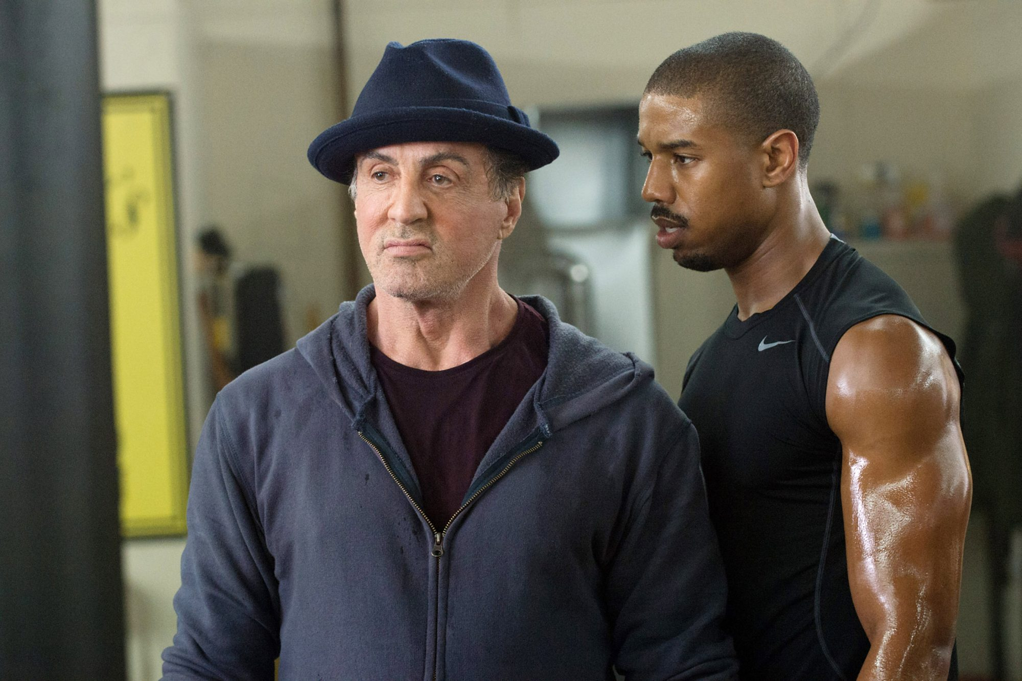 CREED, from left: Sylvester Stallone, Michael B. Jordan, 2015. ph: Barry Wetcher/©Warner