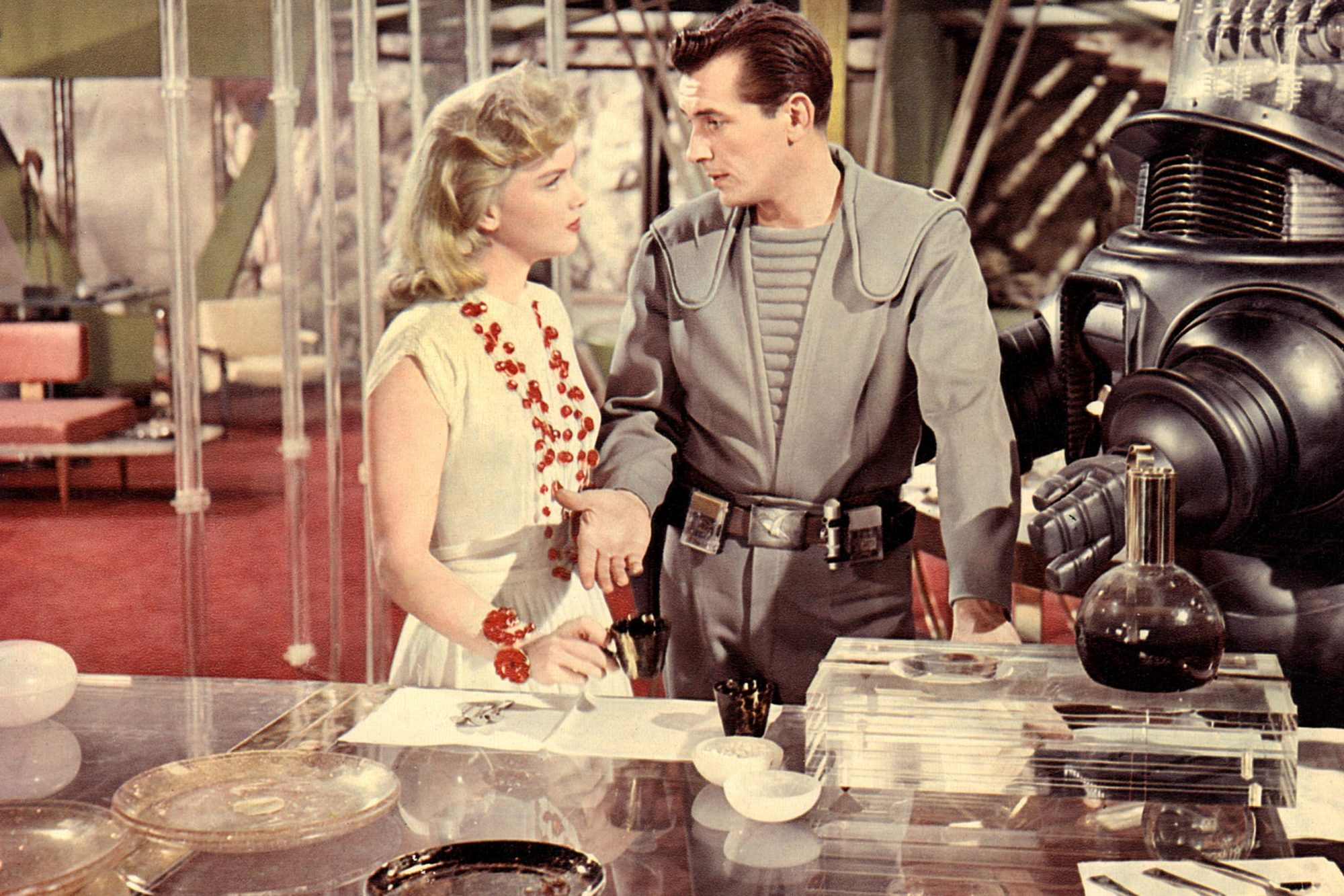 FORBIDDEN PLANET, Anne Francis, Jack Kelly, Robby the Robot, 1956.