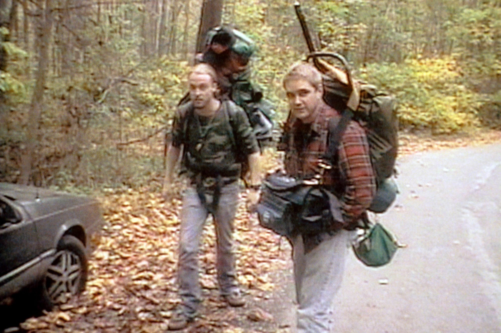 THE BLAIR WITCH PROJECT, from left: Joshua Leonard, Michael C. Williams, 1999, © Artisan Entertainme