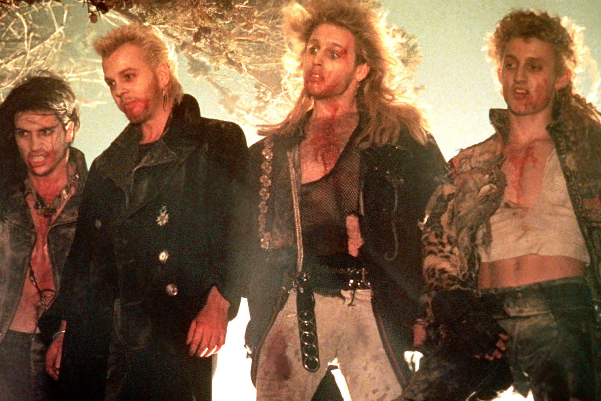 THE LOST BOYS, from left, Billy Wirth, Kiefer Sutherland, Brooke McCarter, Alex Winter, 1987,