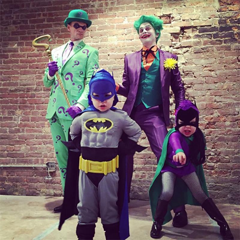 Neil Patrick Harris, David Burtka, and family as the Riddler, the Joker, Batman, and Batgirl