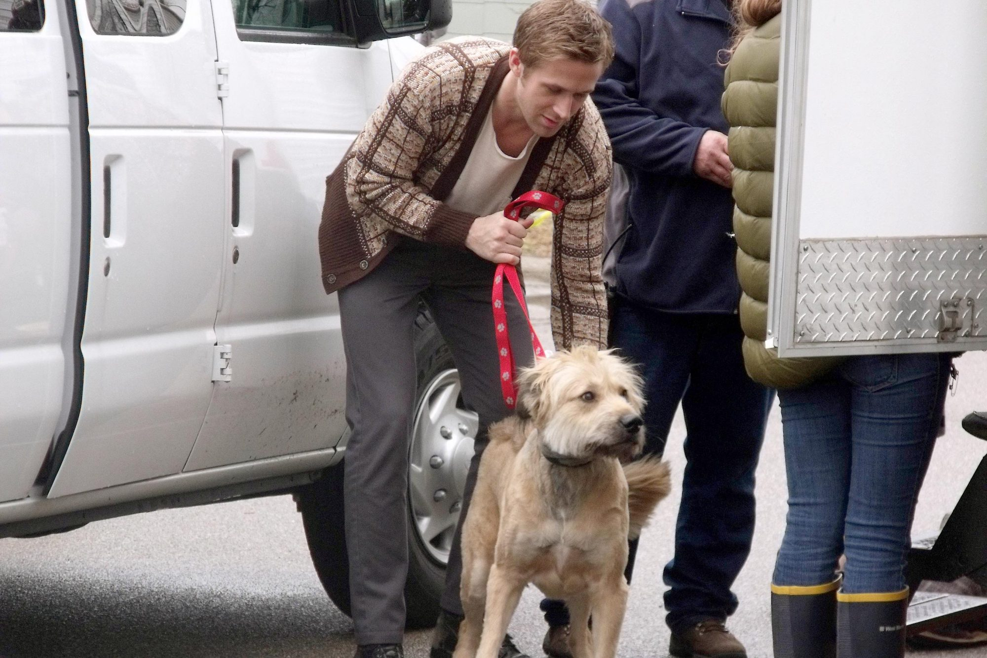 Ryan Gosling walking his dog after film shoot at Miami University