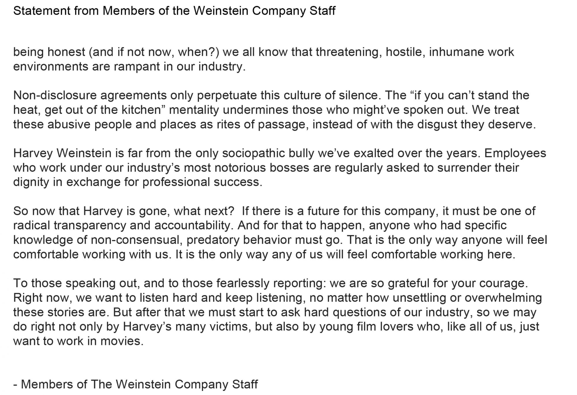 Microsoft Word - Statement from Members of the Weinstein Company
