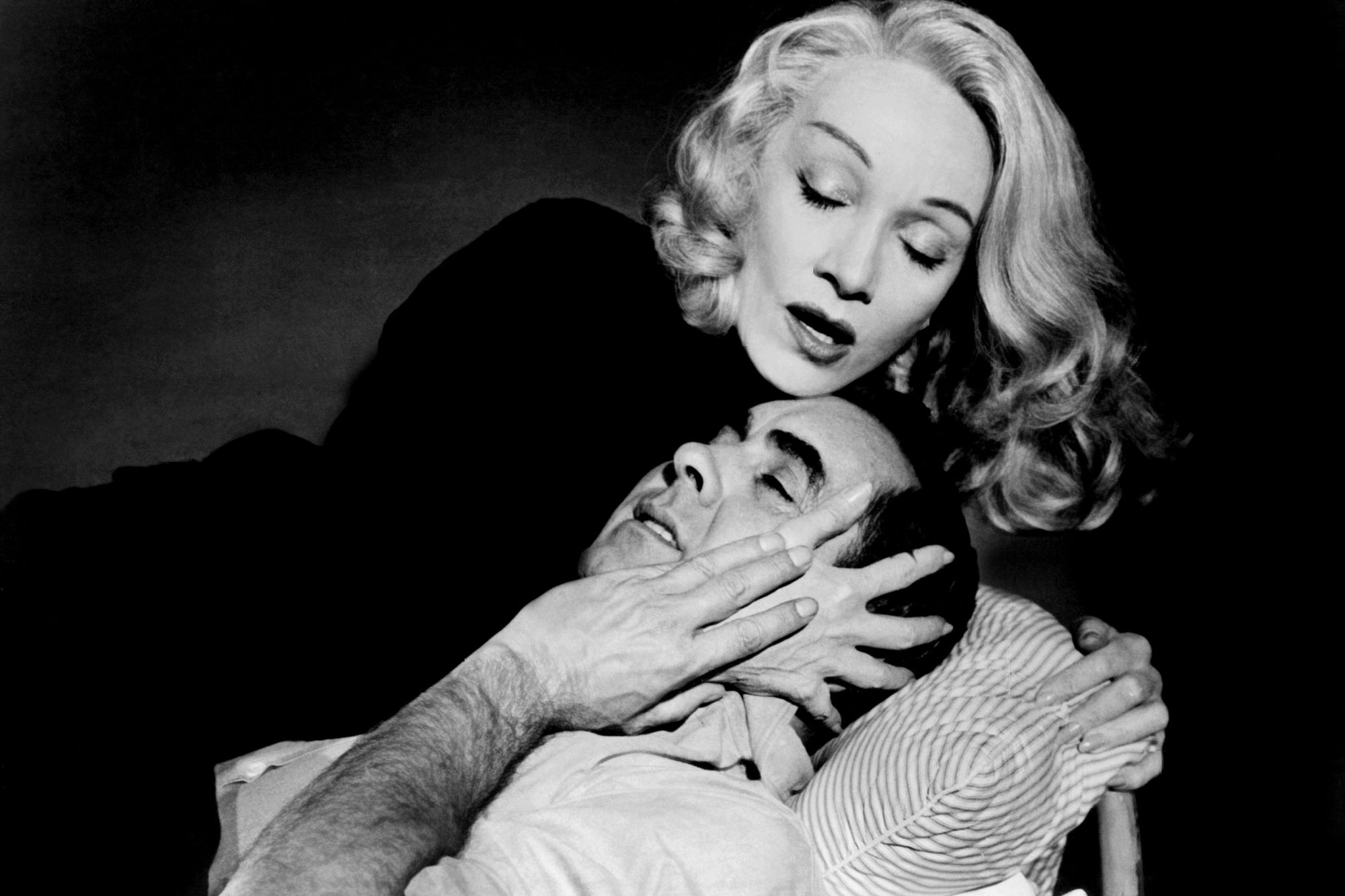 WITNESS FOR THE PROSECUTION, from top, Marlene Dietrich, Tyrone Power, 1957