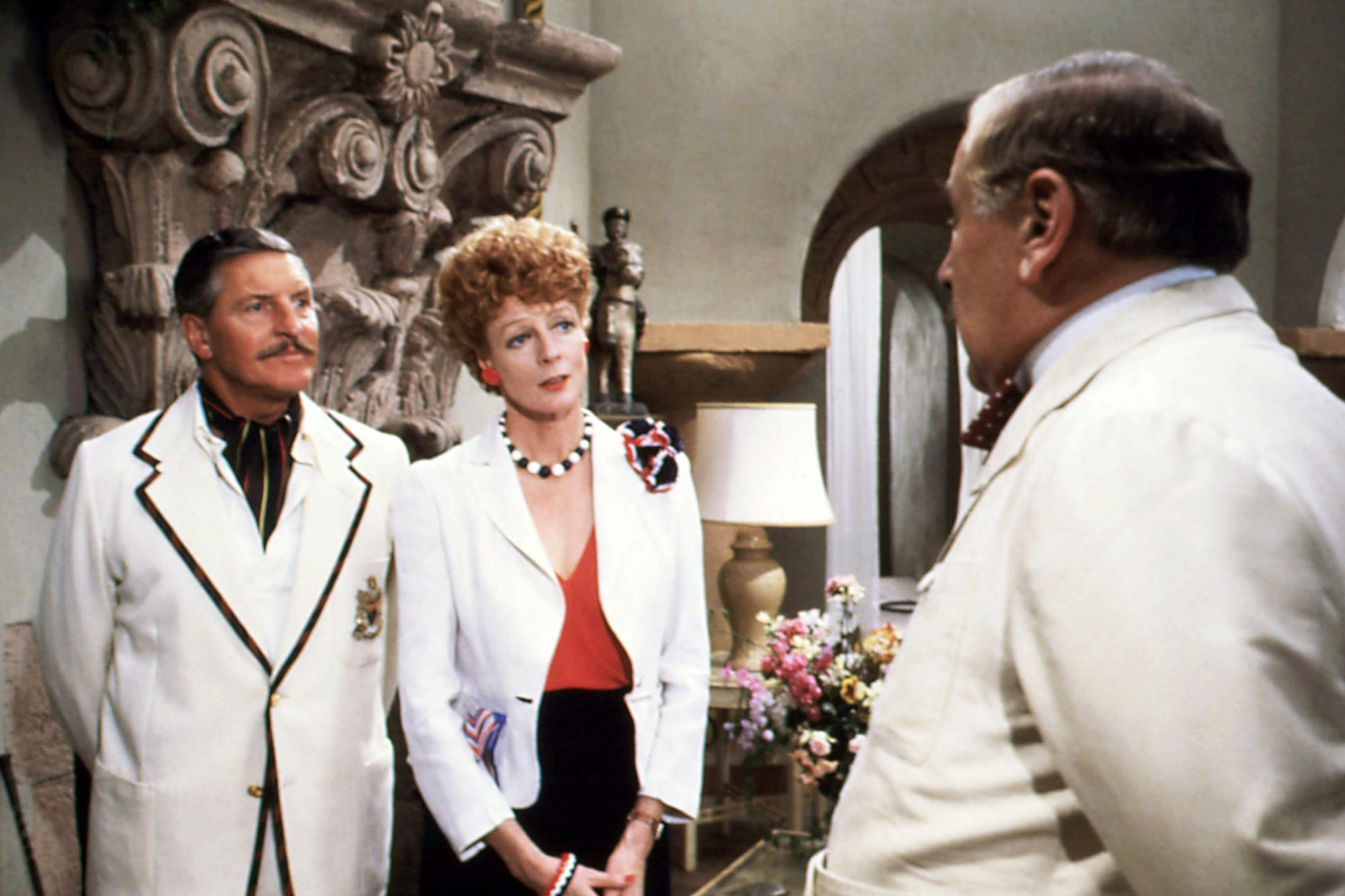 EVIL UNDER THE SUN, from left: Denis Quilley, Maggie Smith, Peter Ustinov, 1982, © Universal/courtes