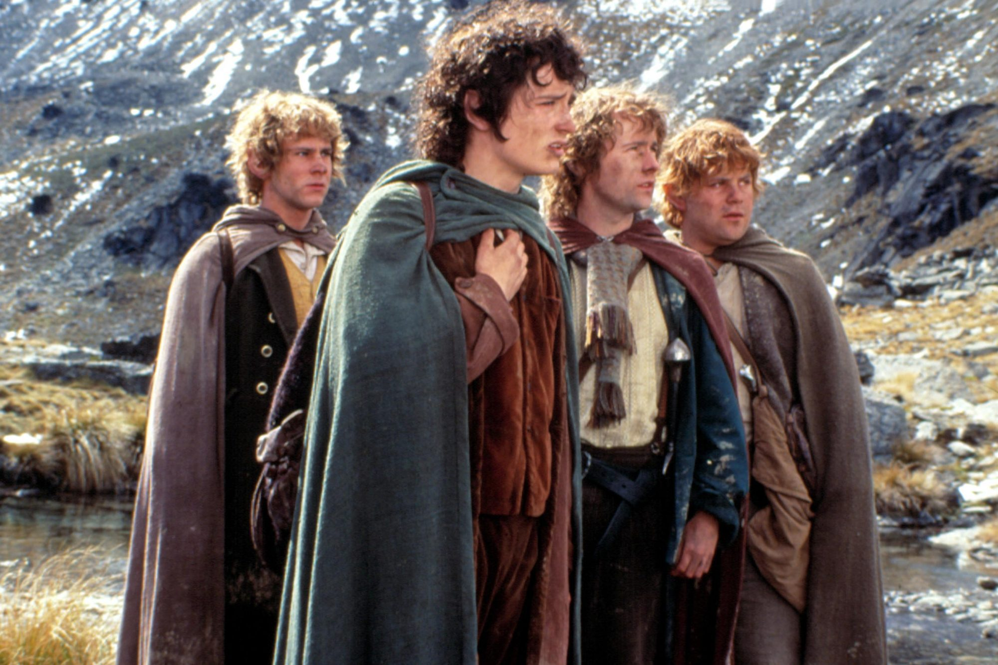 THE LORD OF THE RINGS: THE FELLOWSHIP OF THE RING,  Dominic Monaghan, Elijah Wood, Billy Boyd, Sean