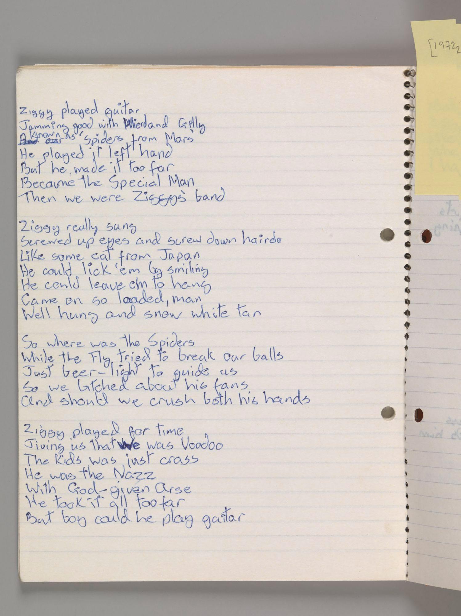 Original-lyrics-for-'Ziggy-Stardust,'-by-David-Bowie,-1972
