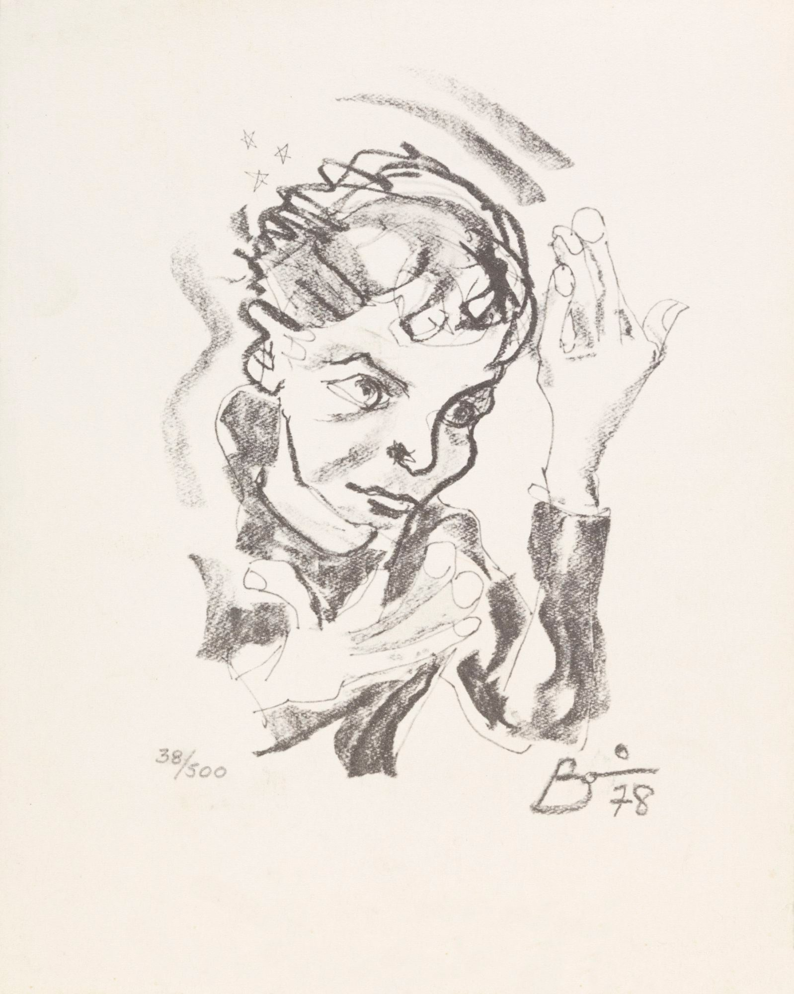 Print-after-a-self-portrait-by-David-Bowie,-1978