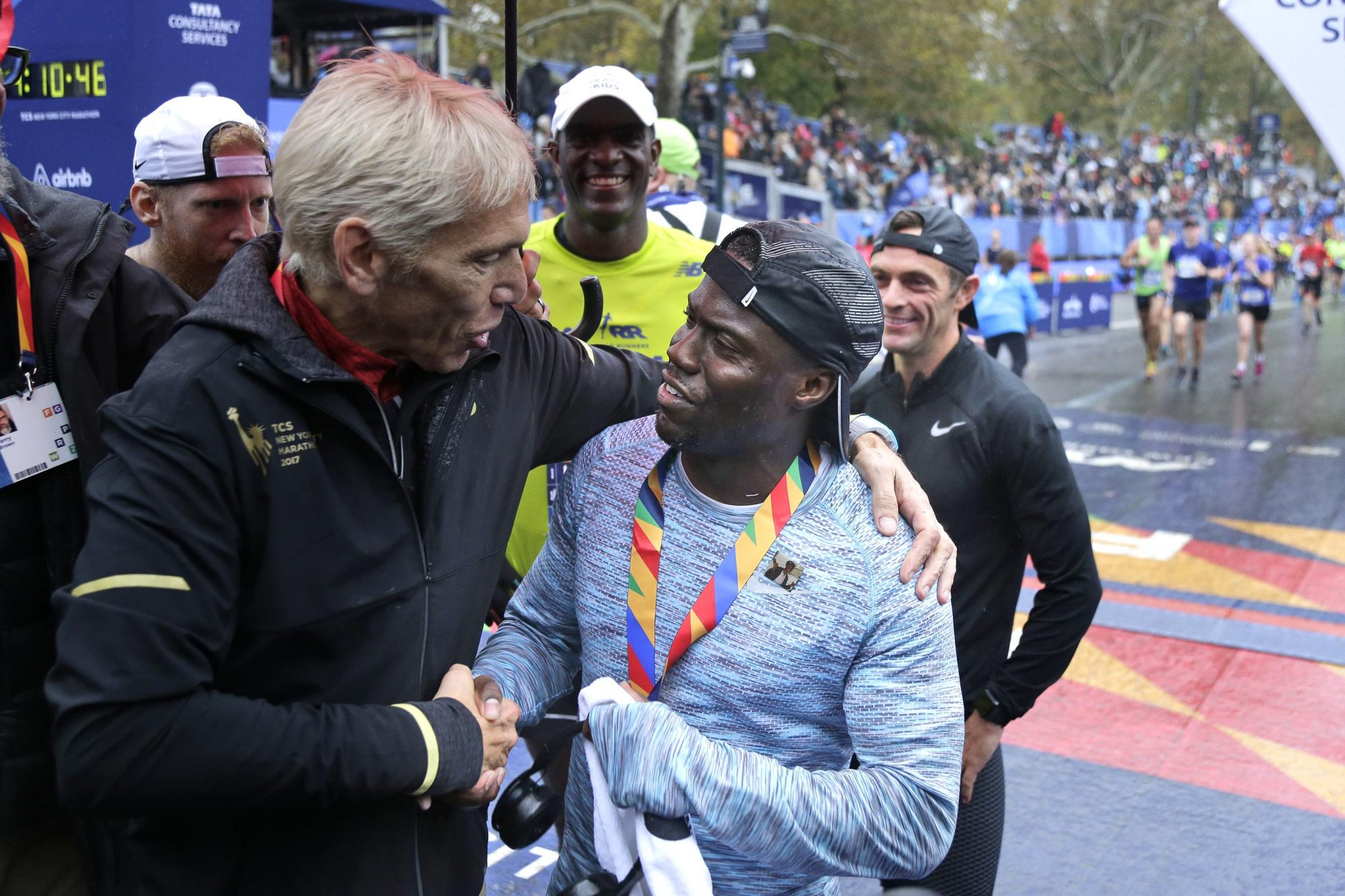 Actor and comedian Kevin Hart with marathon director Peter Ciaccia