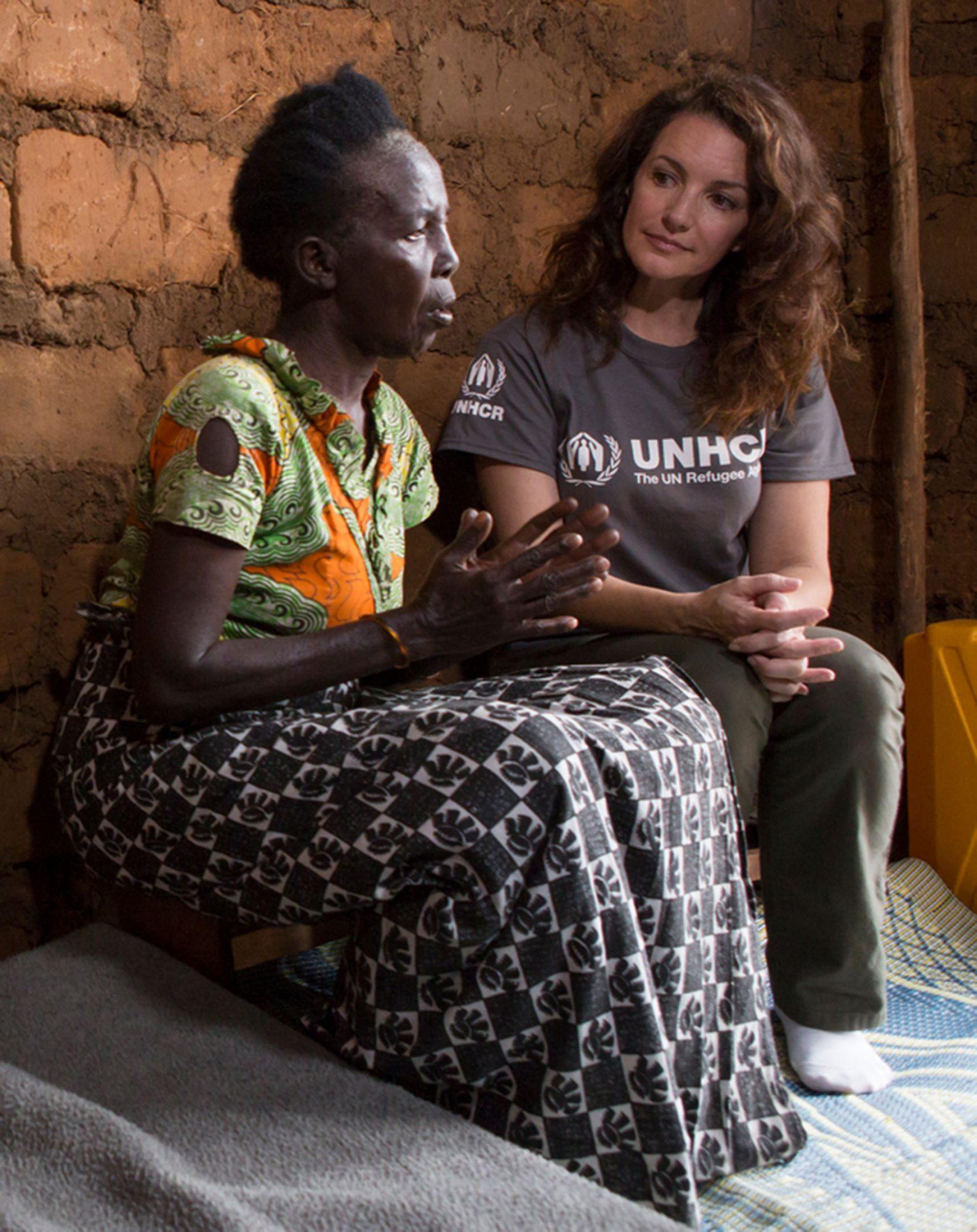 Rwanda. UNHCR Goodwill Ambassador Kristin Davis meets Marie Therese