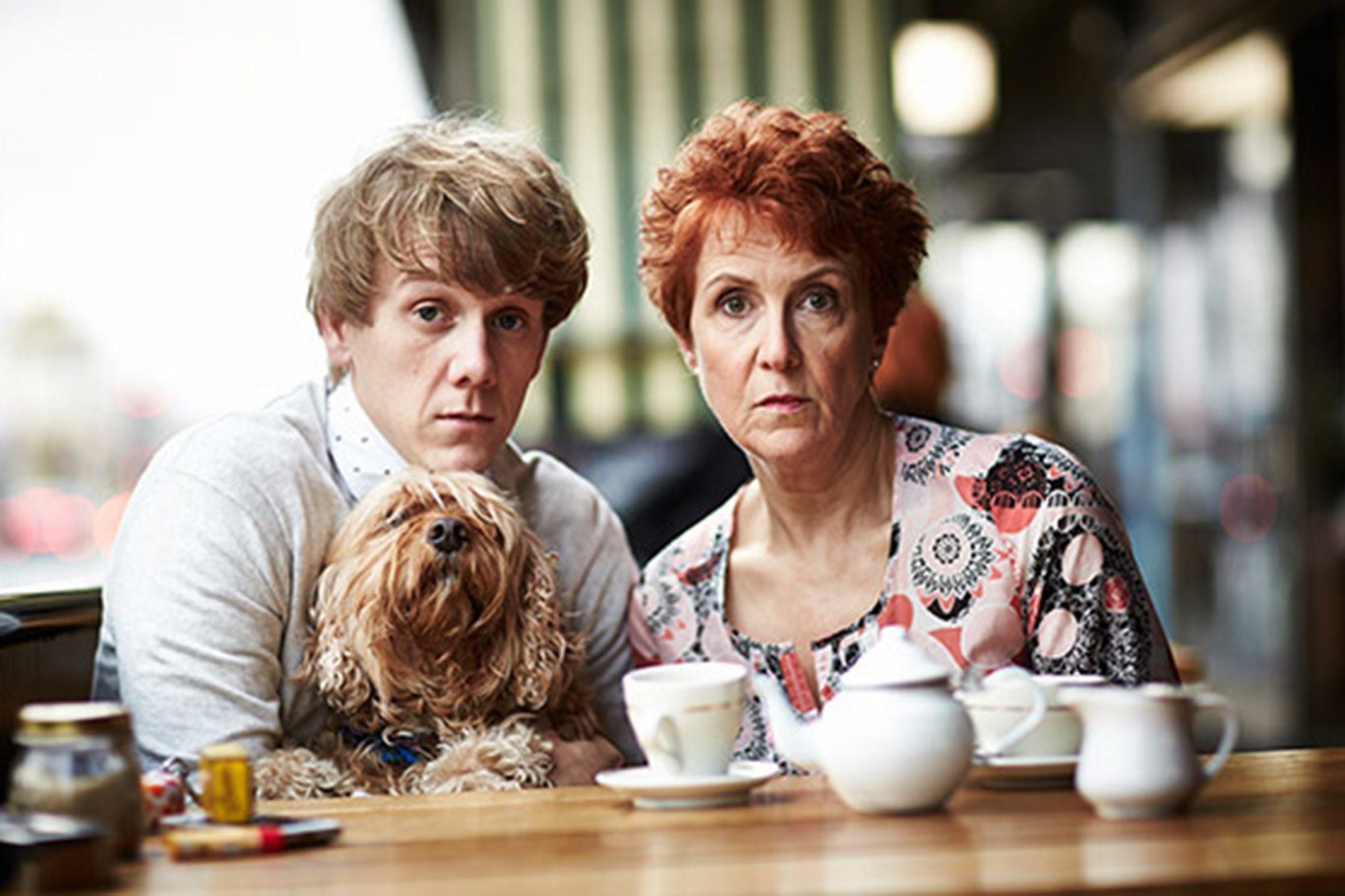 Josh and his onscreen mum Rose played by Debra Lawrance and his dog John. Please Like Me