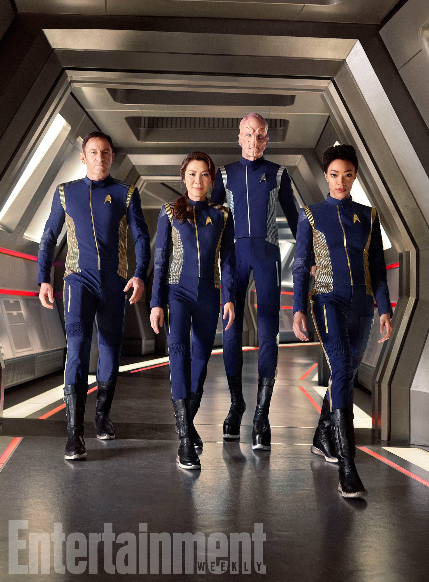 Ready for adventure in the halls of the U.S.S. Discovery: Jason Isaacs, Michelle Yeoh, Doug Jones, and Sonequa Martin-Green