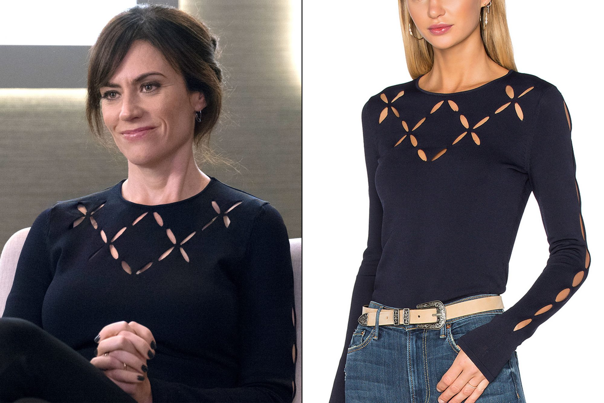 Wendy Rhoades' (Maggie Siff) cutout sweater on Billions