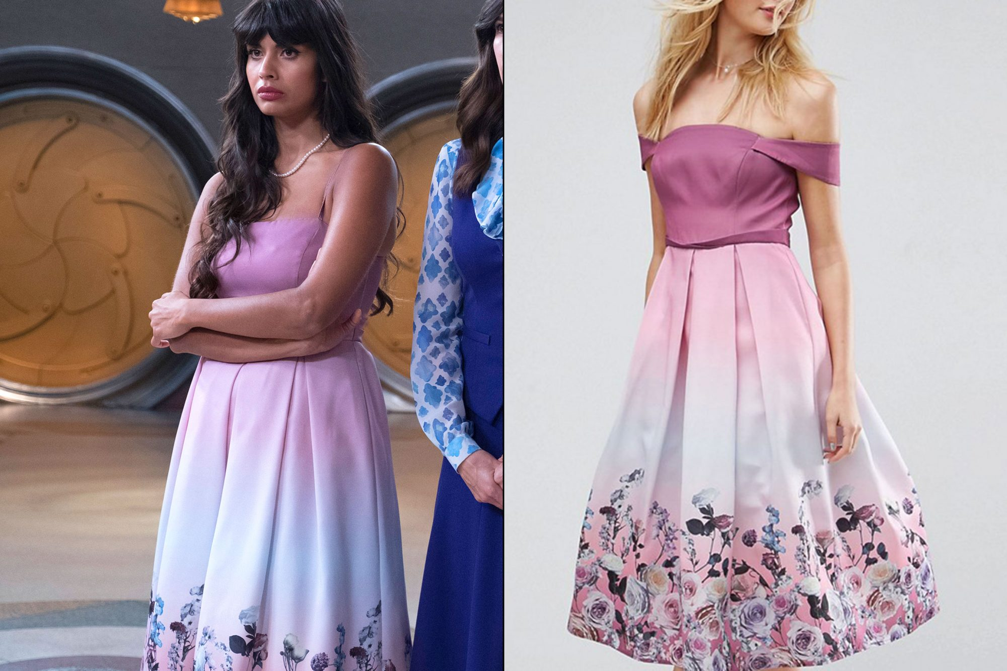 Tahani's (Jameela Jamil) floral dress on The Good Place