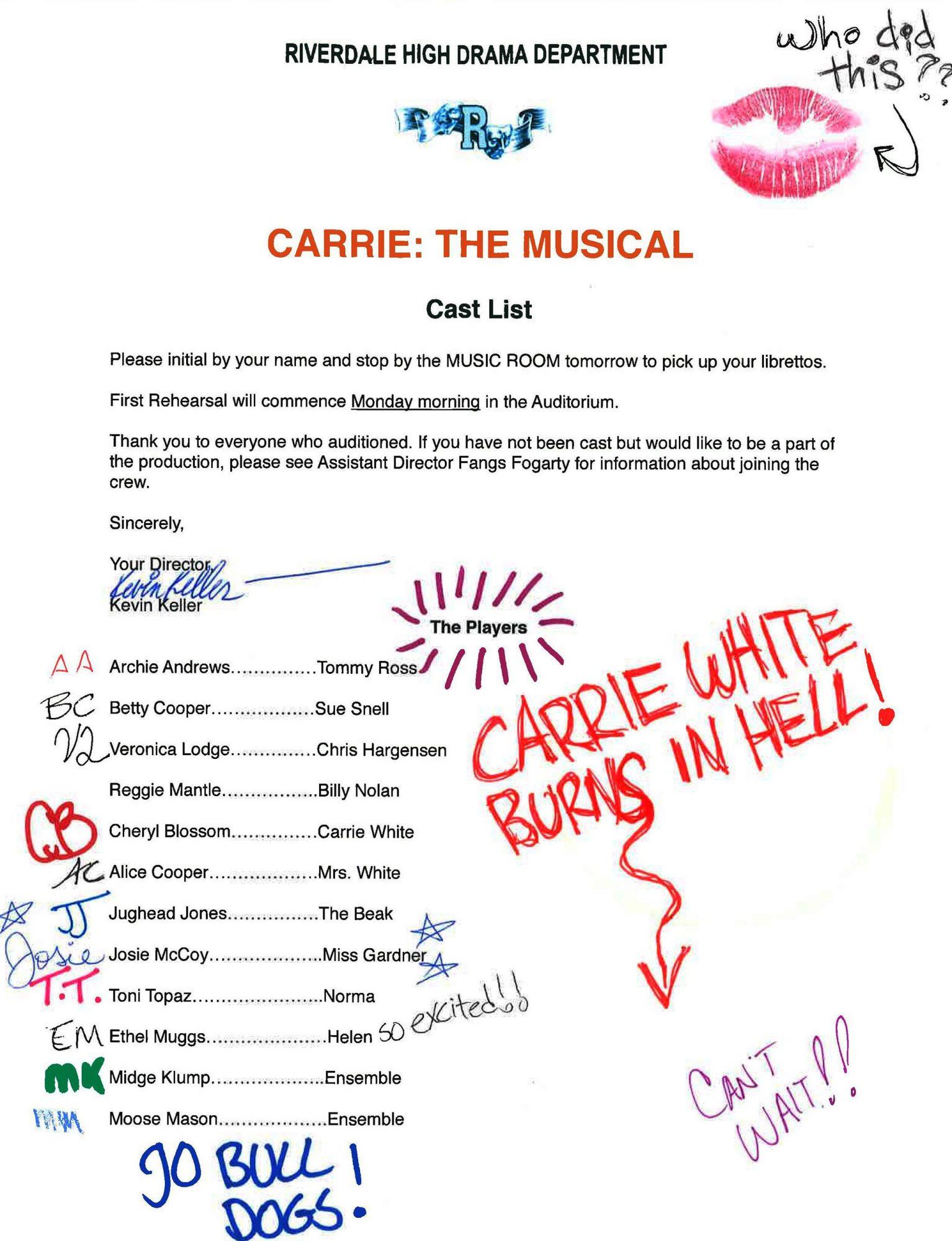 Carrie Cast List FINAL