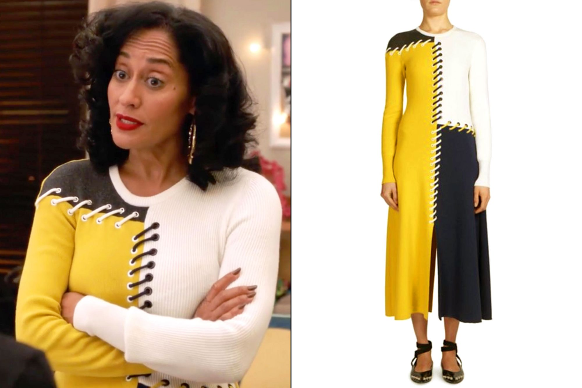 Rainbow's (Tracee Ellis Ross) color-block dress on grown-ish