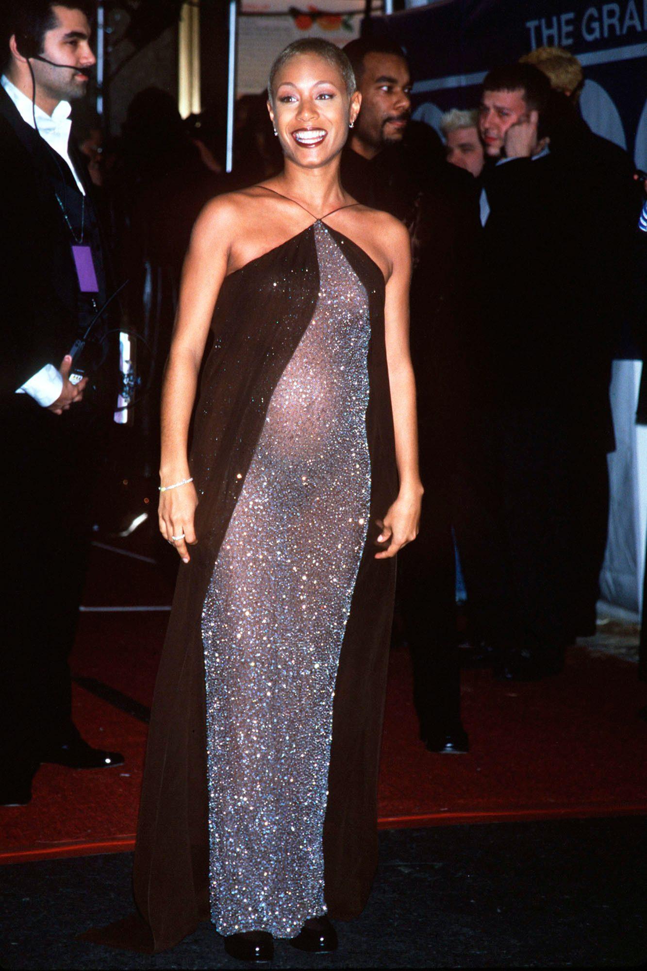 Jada Pinkett seen here pregnant, arrives at the Grammy Awards