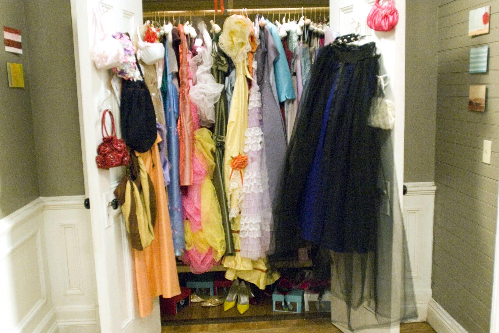 27DKS-011    A closet full of bridesmaid dresses takes cente