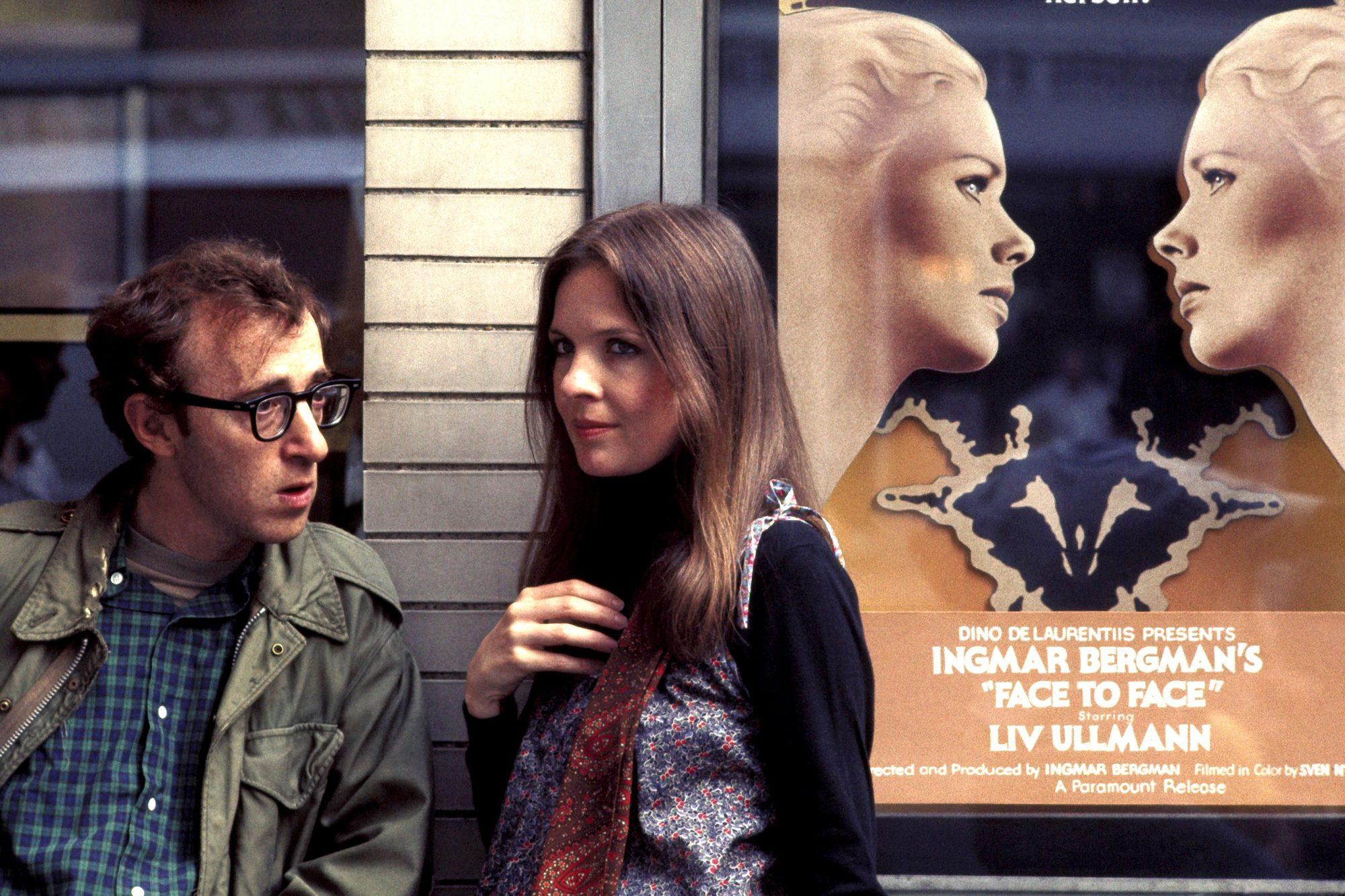 ANNIE HALL, Woody Allen, Diane Keaton, Liv Ullmann (on poster), 1977