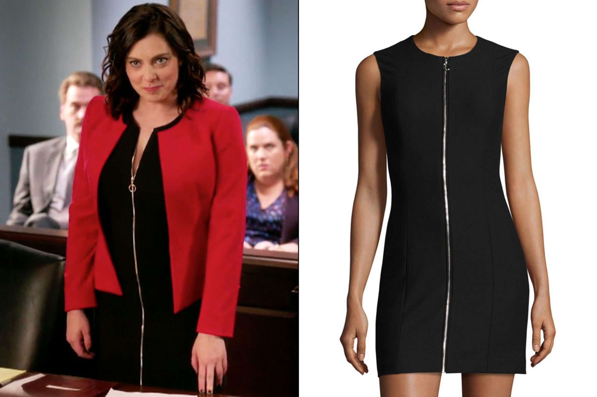 Rebecca's (Rachel Bloom) full-zip black dress on Crazy Ex-Girlfriend