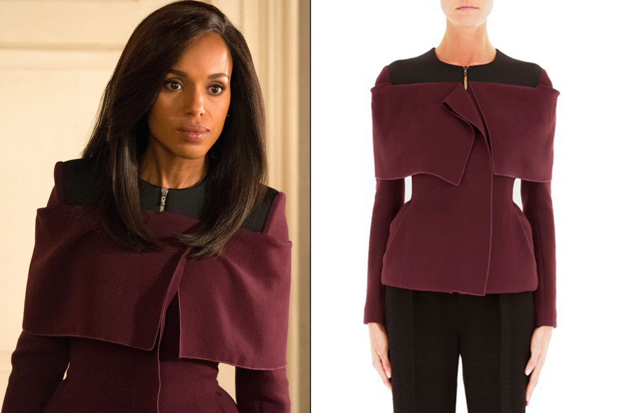 Olivia Pope's (Kerry Washington) burgundy jacket on Scandal