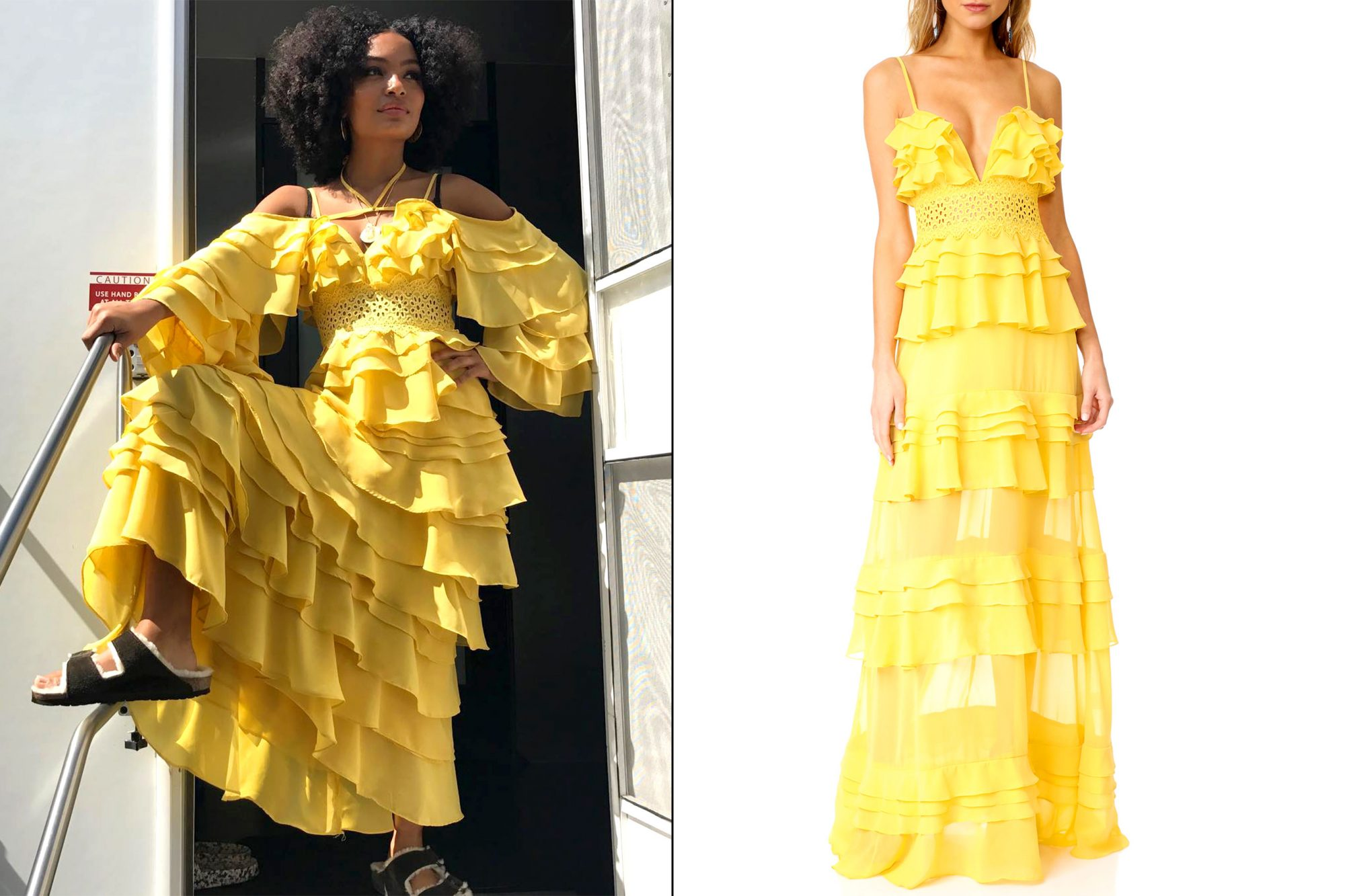 Zoey's (Yara Shahidi) flowy yellow dress on grown-ish