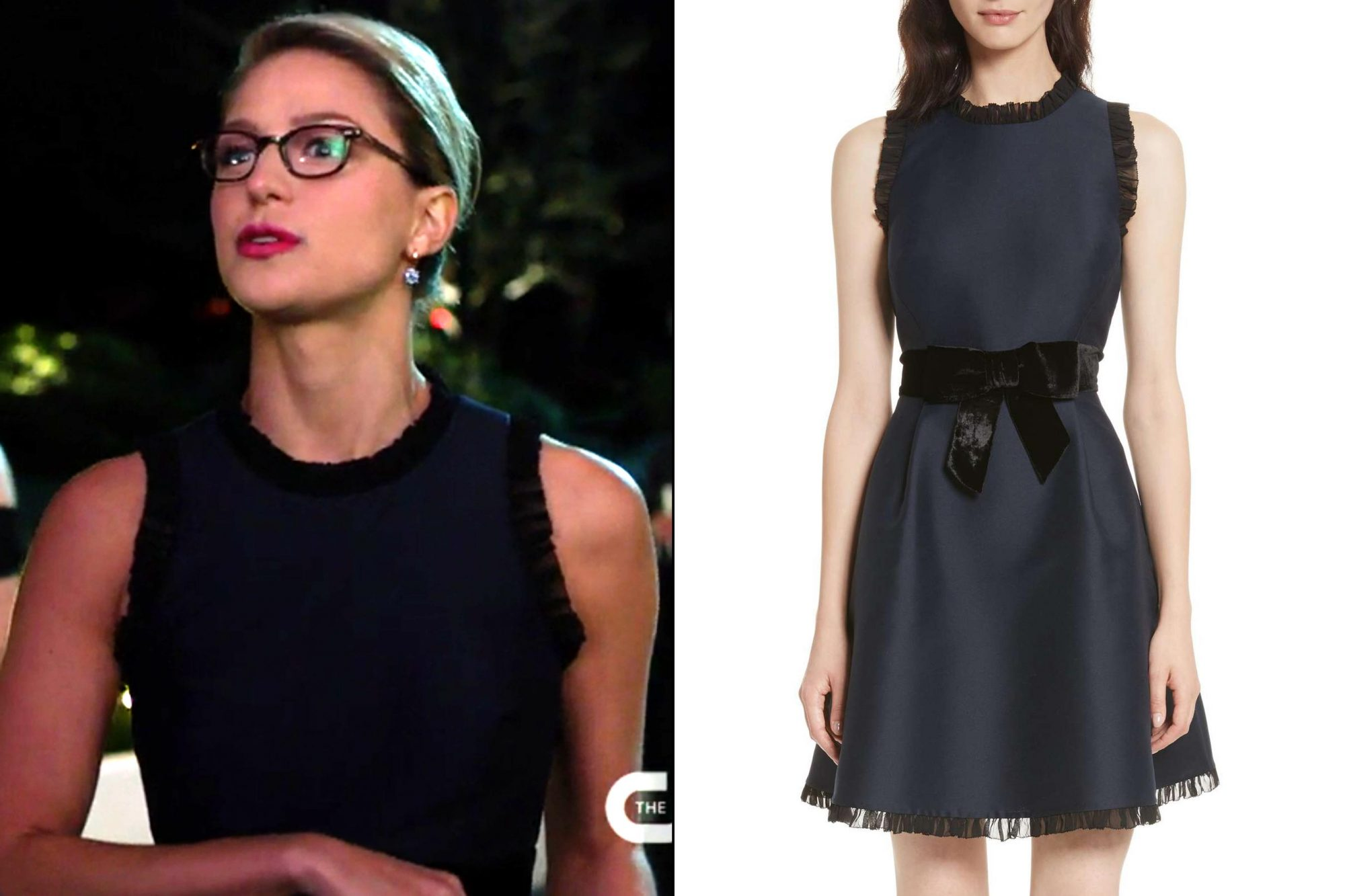 Kara Danvers's (Melissa Benoist) navy cocktail dress on Supergirl