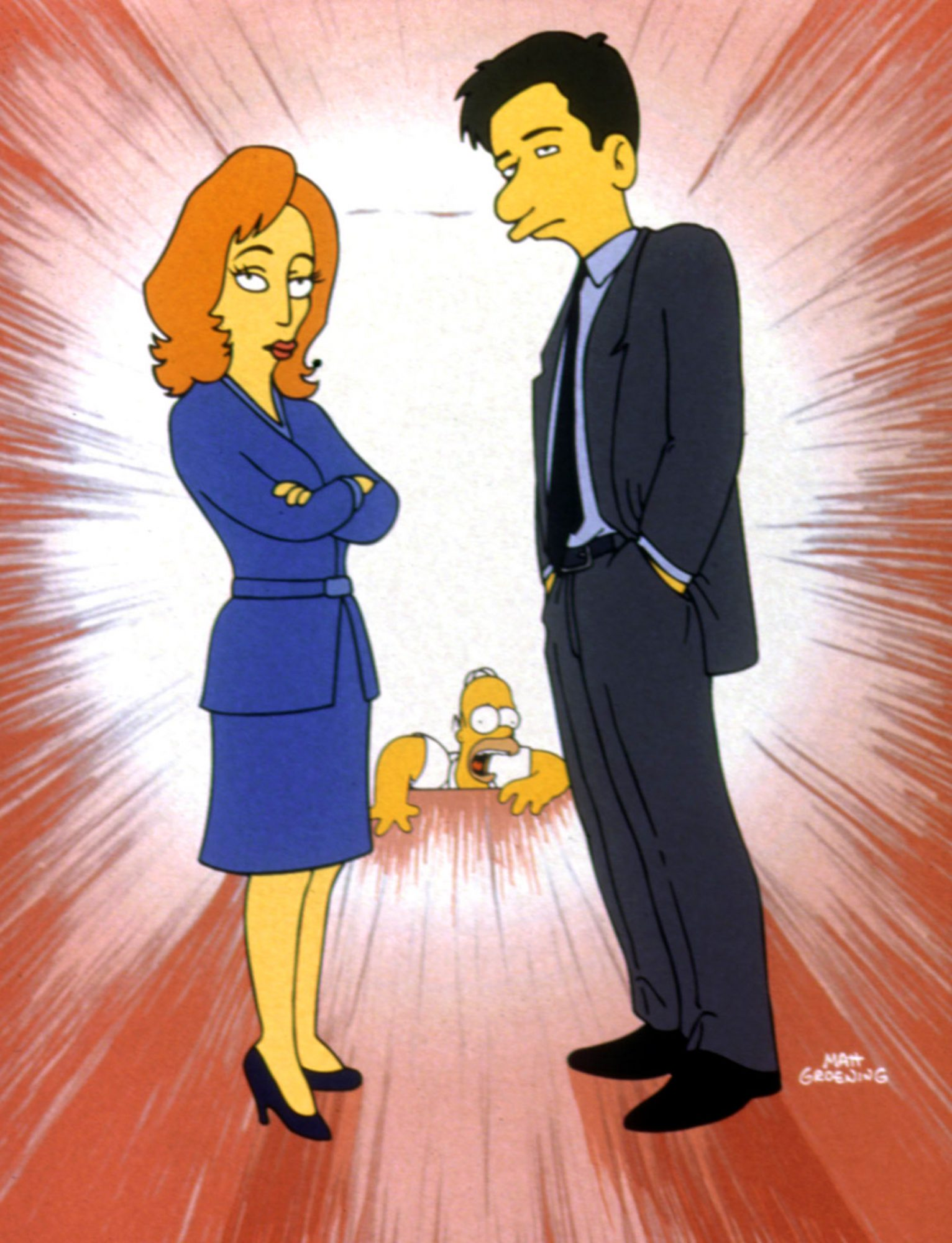 SIMPSONS, THE, Dana Scully, Homer Simpson, Fox Mulder, 1989-. TM and Copyright © 20th Century Fox Fi