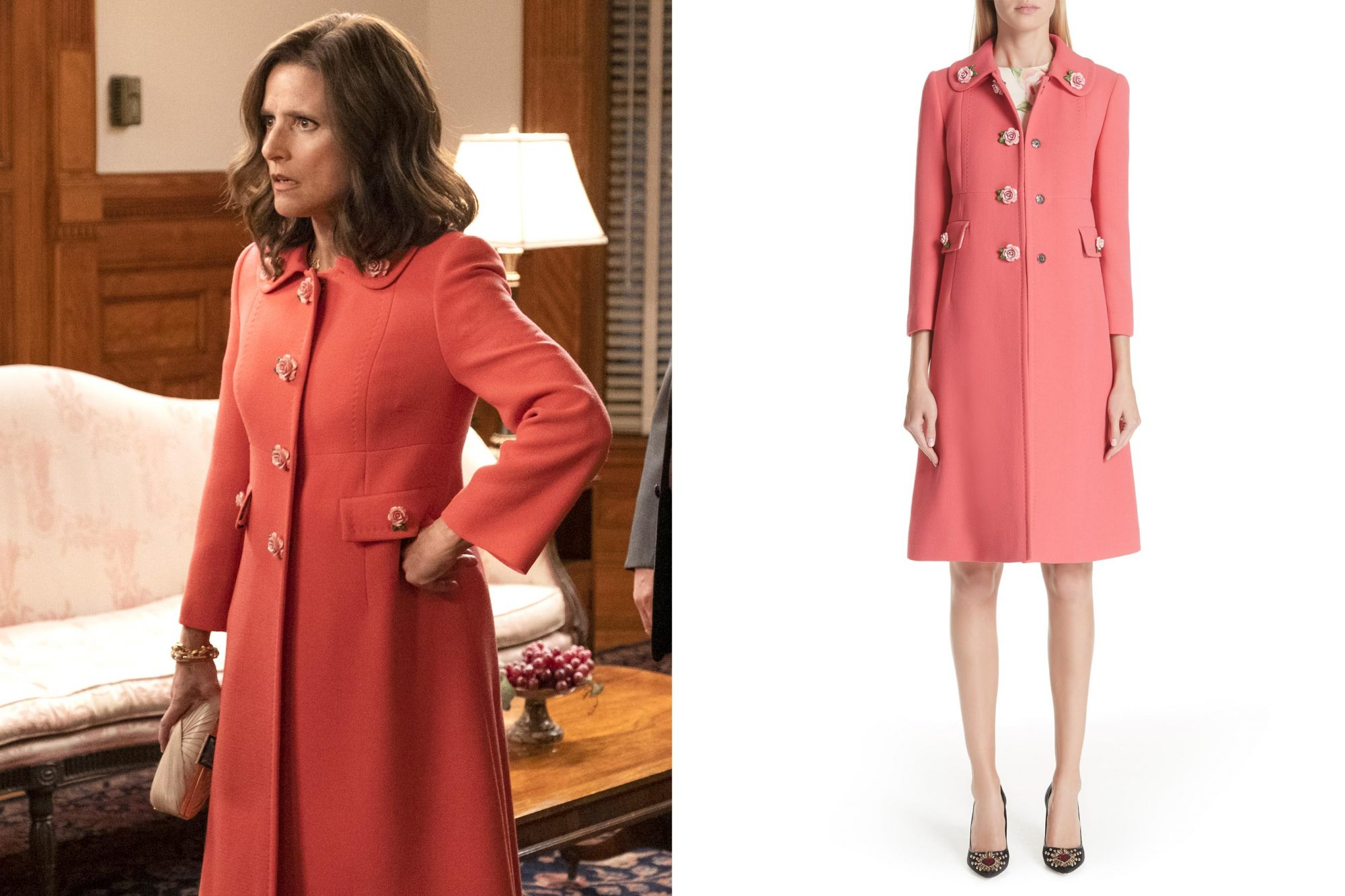 VEEP Season 7, episode 6 (debut 5/5/19): Tony Hale, Julia Louis-Dreyfus, Kevin Dunn, Gary Cole. photo: Colleen Hayes/HBO Rose Button Wool Coat DOLCE&GABBANA https://shop.nordstrom.com/s/dolcegabbana-rose-button-wool-coat/4944552 CR: Nordstrom