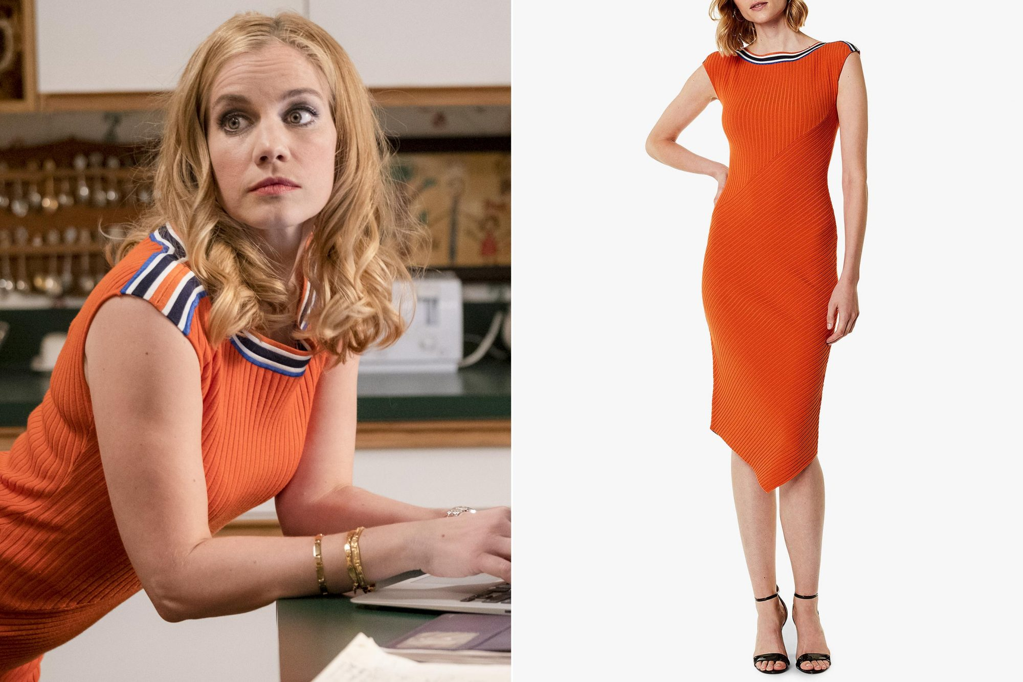 VEEP Season 7, episode 6 (debut 5/5/19): Anna Chlumsky. photo: Colleen Hayes/HBO KAREN MILLEN Asymmetric Rib-Knit Midi Dress https://www.bloomingdales.com/shop/product/karen-millen-asymmetric-rib-knit-midi-dress?ID=3037355 CR: Bloomingdales