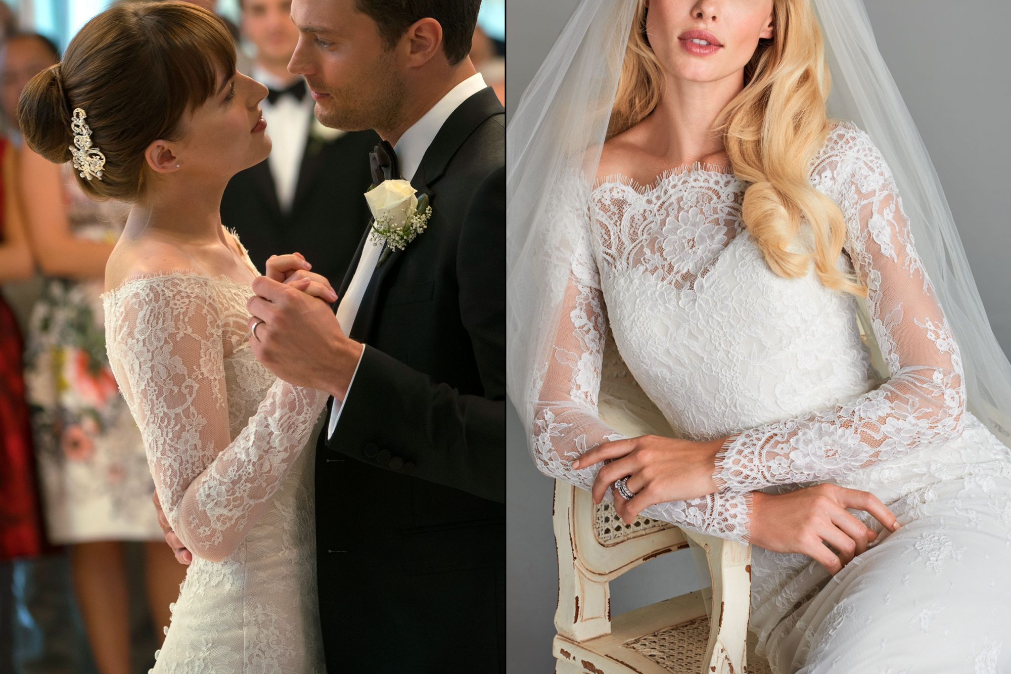 Anastasia Steele's (Dakota Johnson) wedding dress from Fifty Shades Freed