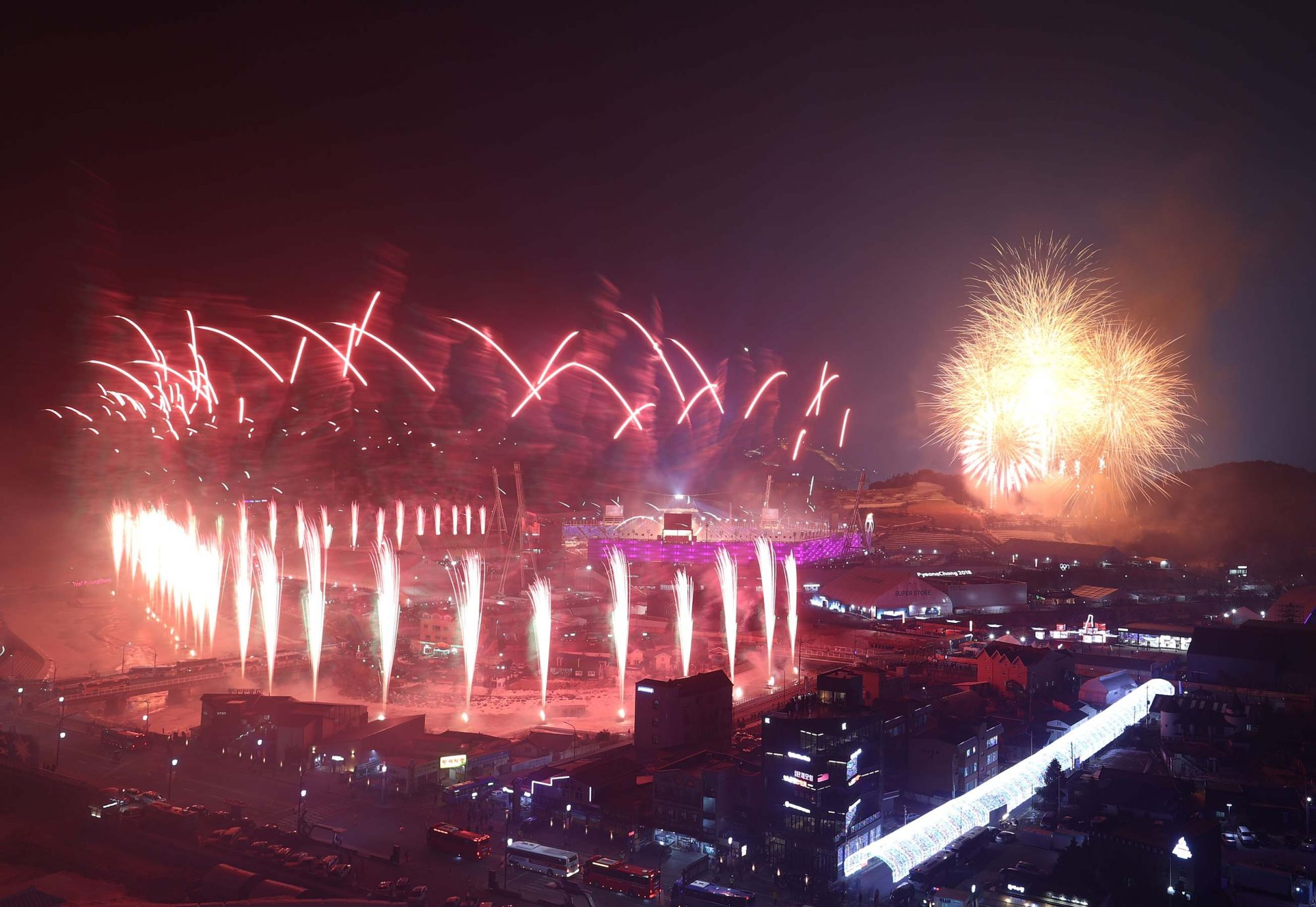 2018 Winter Olympic Games - Fireworks during Opening Ceremony