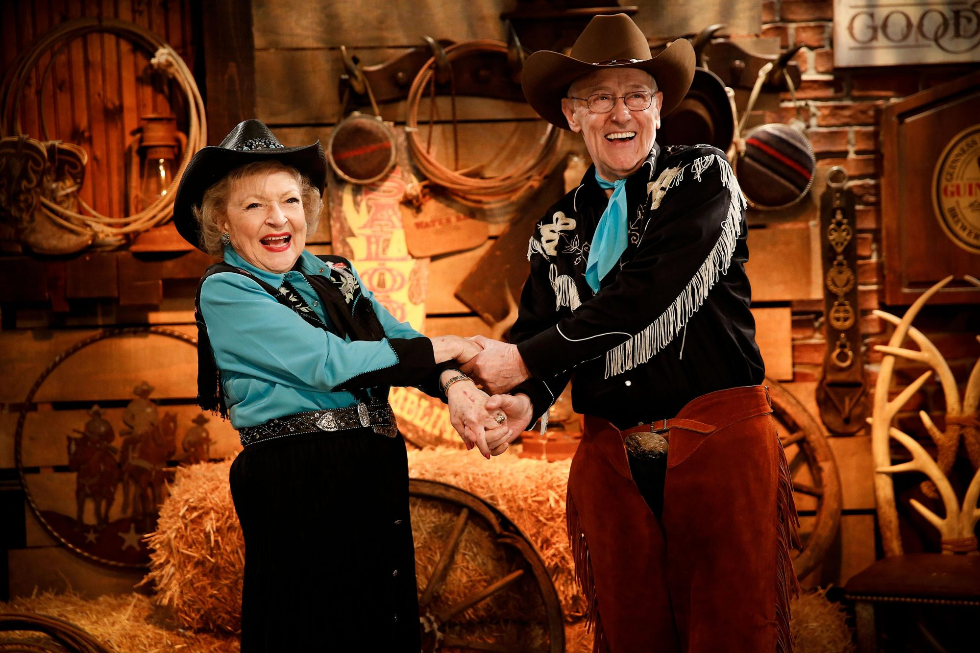 HOT IN CLEVELAND, l-r: Betty White, John Mahoney, in 'Rusty Banks Rides Again' (Season 5, Episode