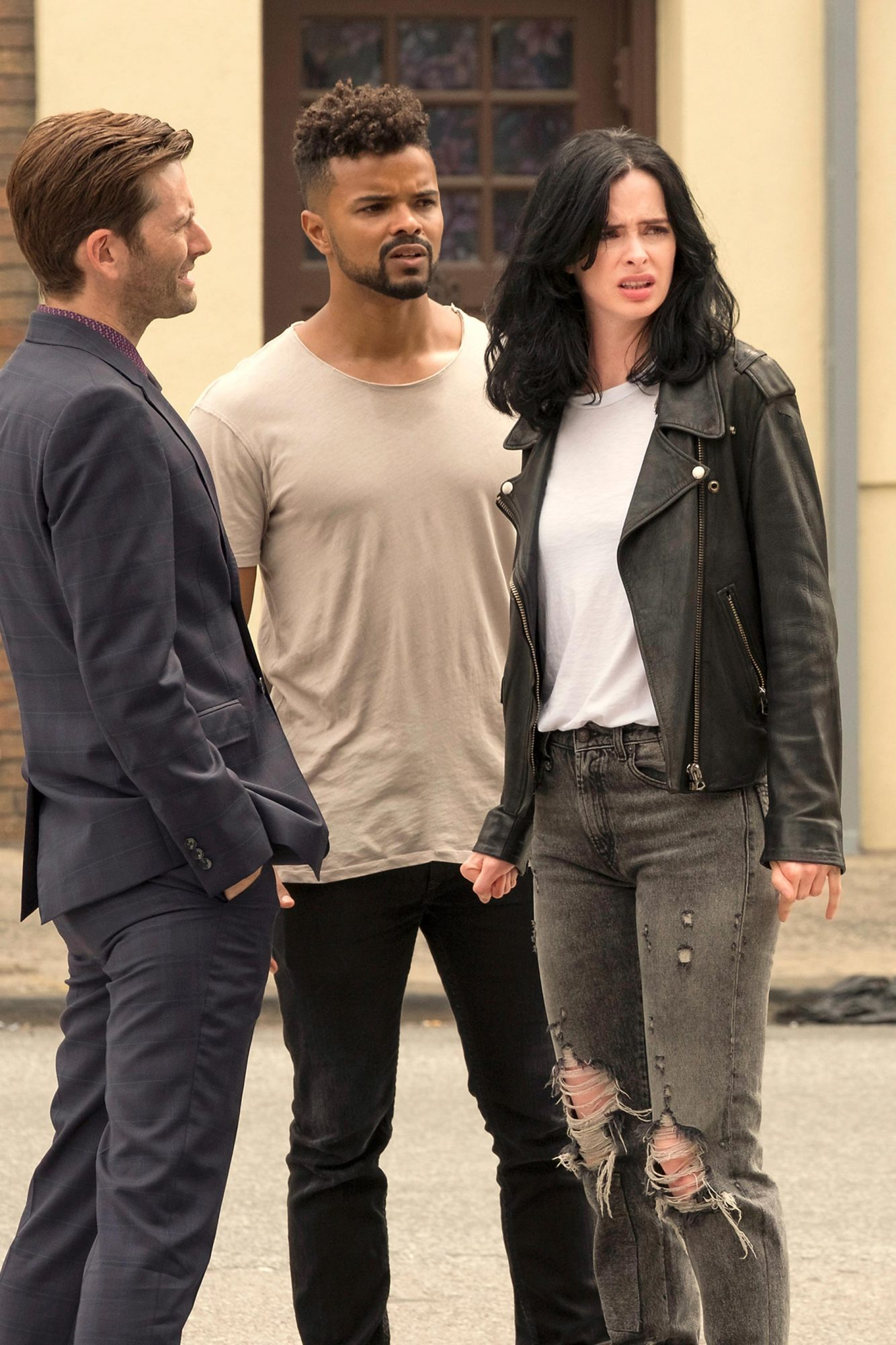 Jessica Jones' (Krysten Ritter) distressed jeans on Jessica Jones