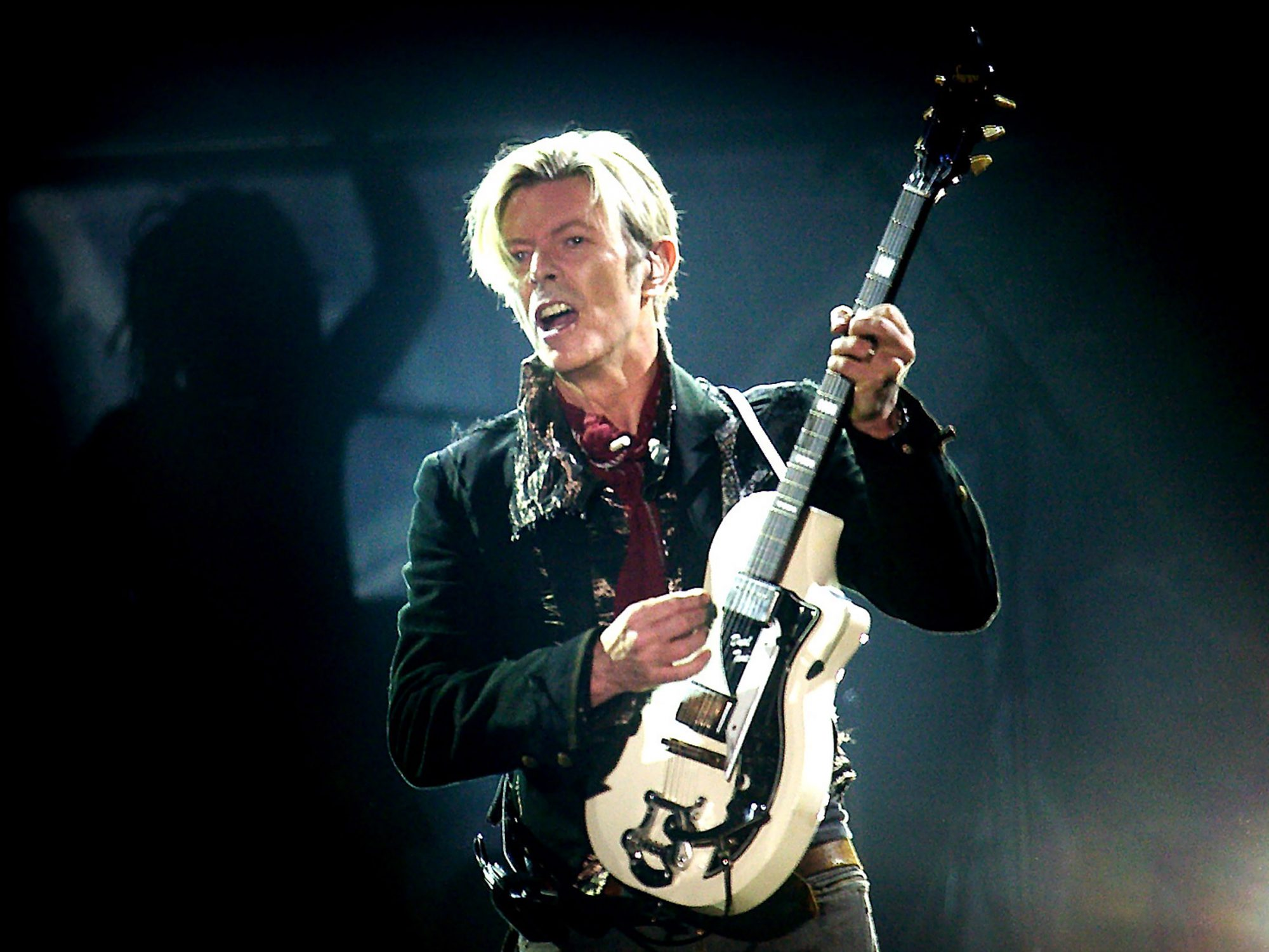 Rock legend David Bowie performs on stag