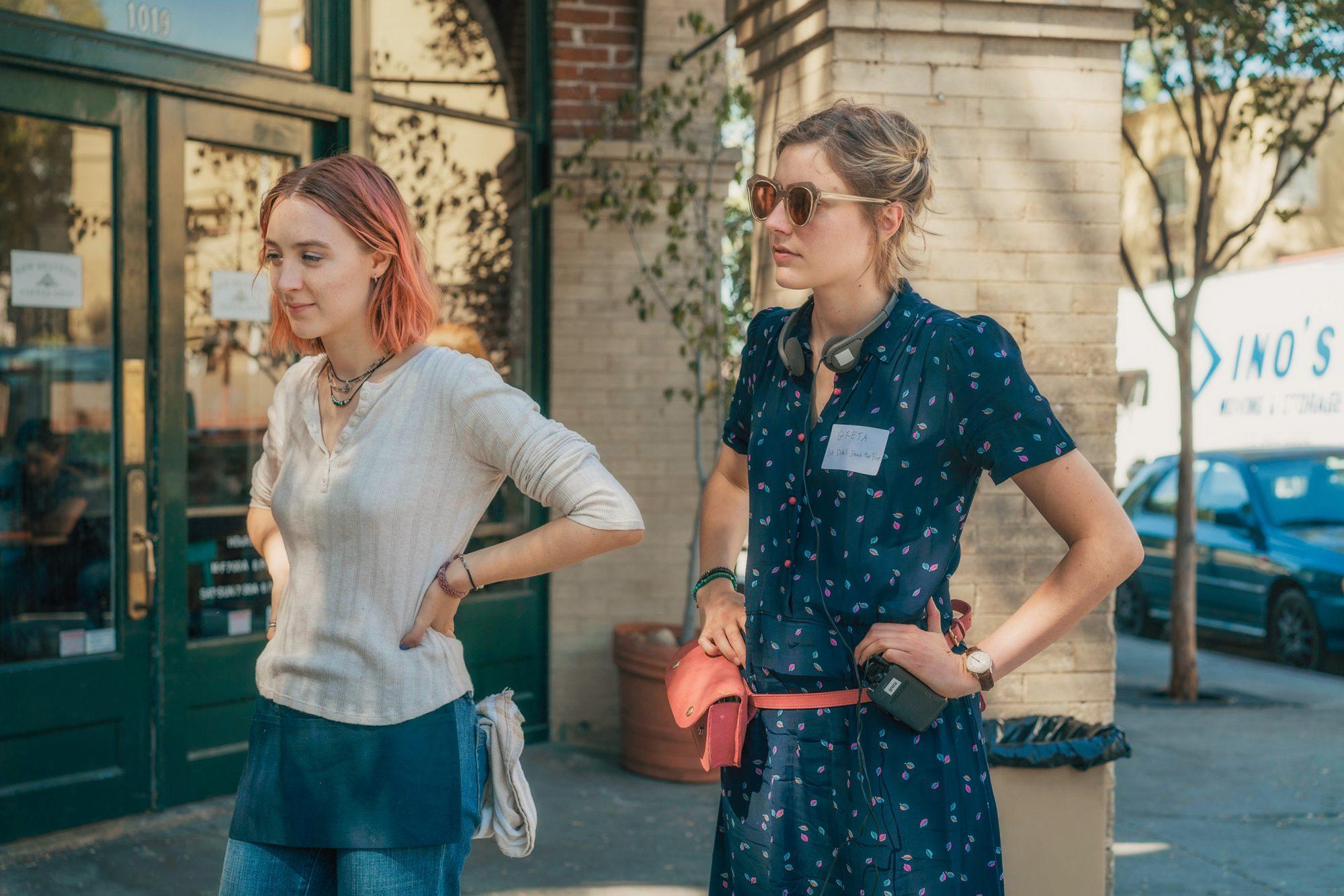 Lady BirdSaoirse Ronan and Greta Gerwig on set