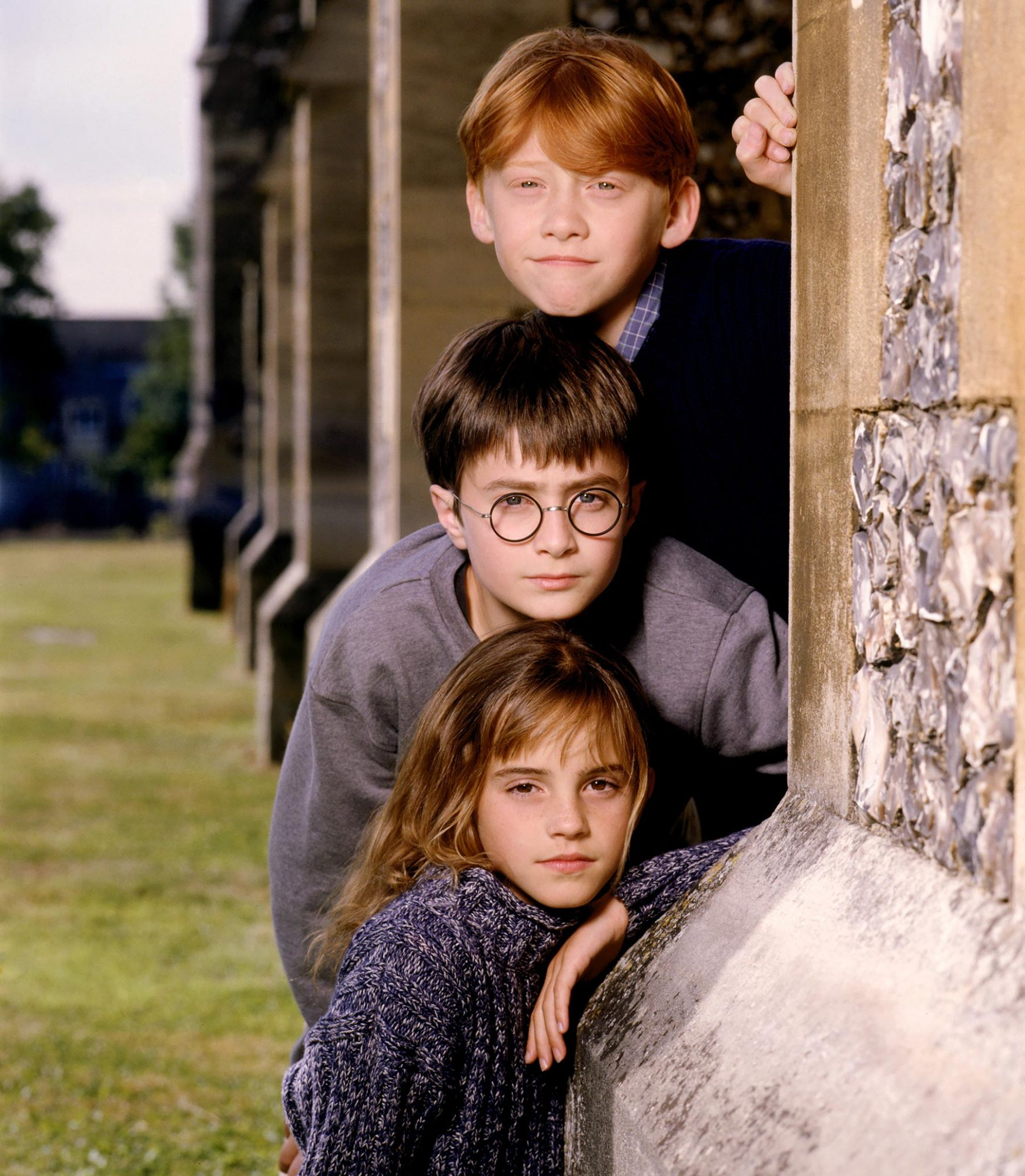 HARRY POTTER AND THE SORCERER'S STONE, from top: Rupert Grint, Daniel Radcliffe, Emma Watson, 2001,