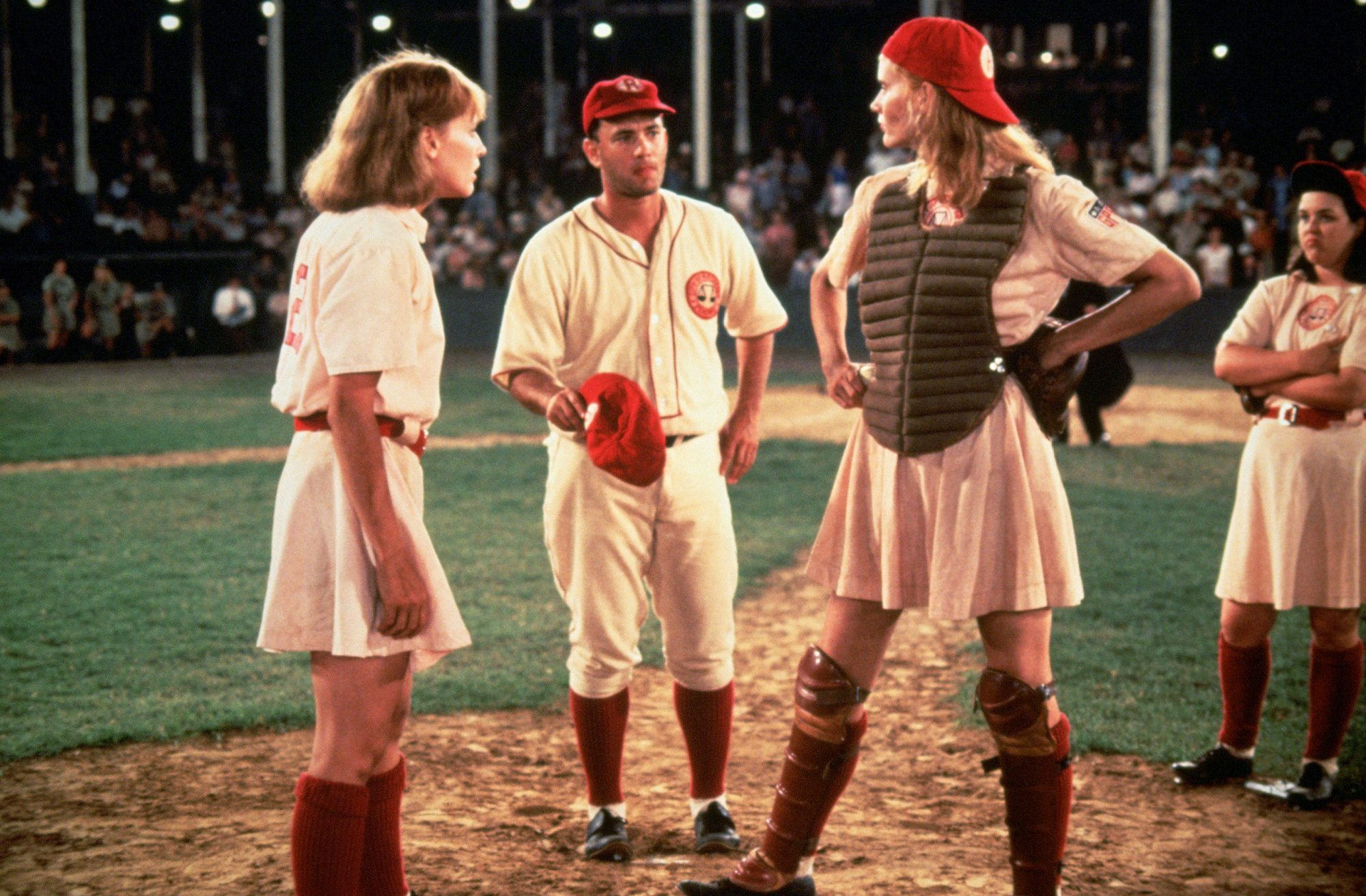 A LEAGUE OF THEIR OWN, Lori Petty, Tom Hanks, Geena Davis, Rosie O'Donnell, 1992, ©Columbia Pictures