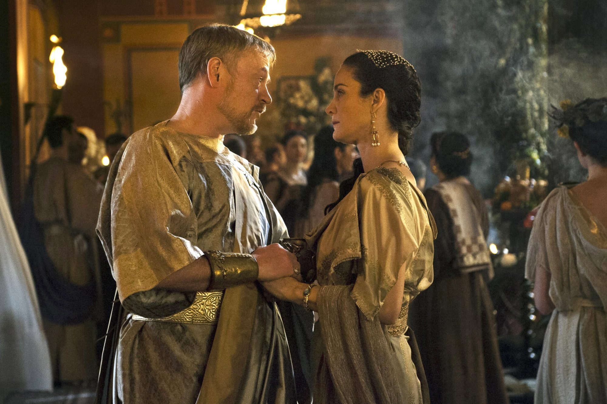 POMPEII, from left: Jared Harris, Carrie-Anne Moss, 2014. ph: Caitlin Cronenberg/©TriStar Pictures/c