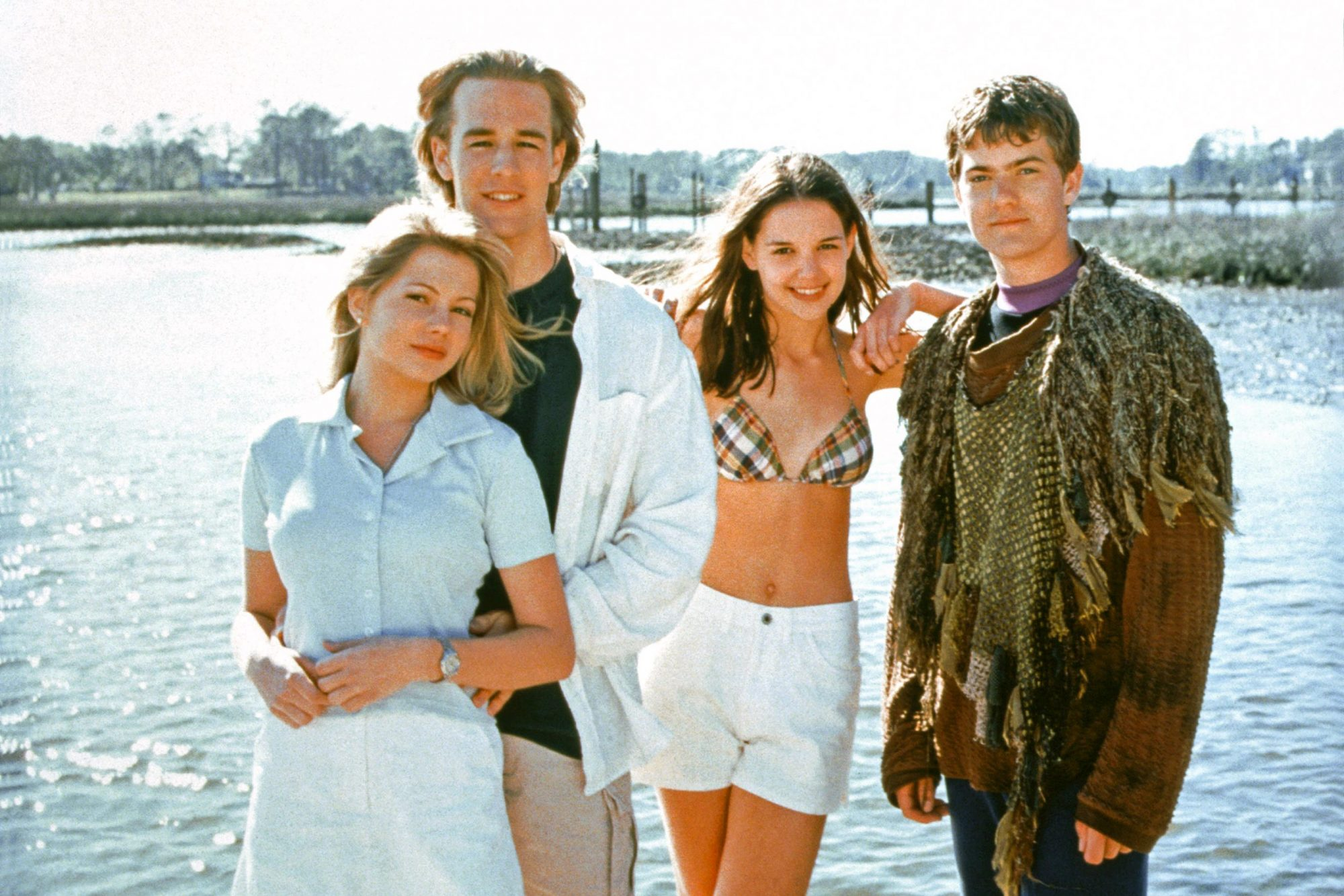 DAWSON'S CREEK, (from left): Michelle Williams, James Van Der Beek, Katie Holmes, Joshua Jackson, (S