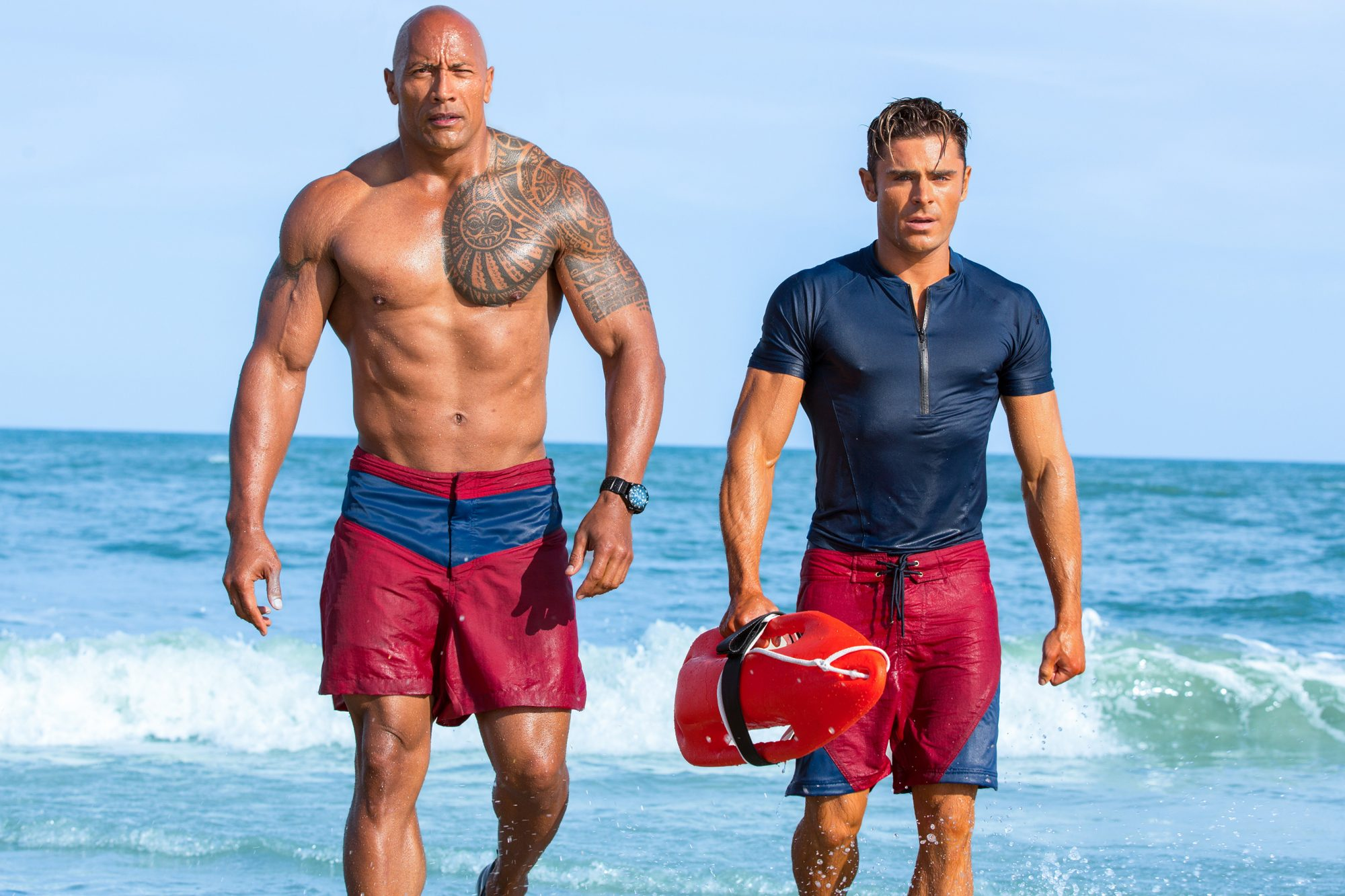 Dwayne Johnson and Zac Efron (Baywatch, out May 25)